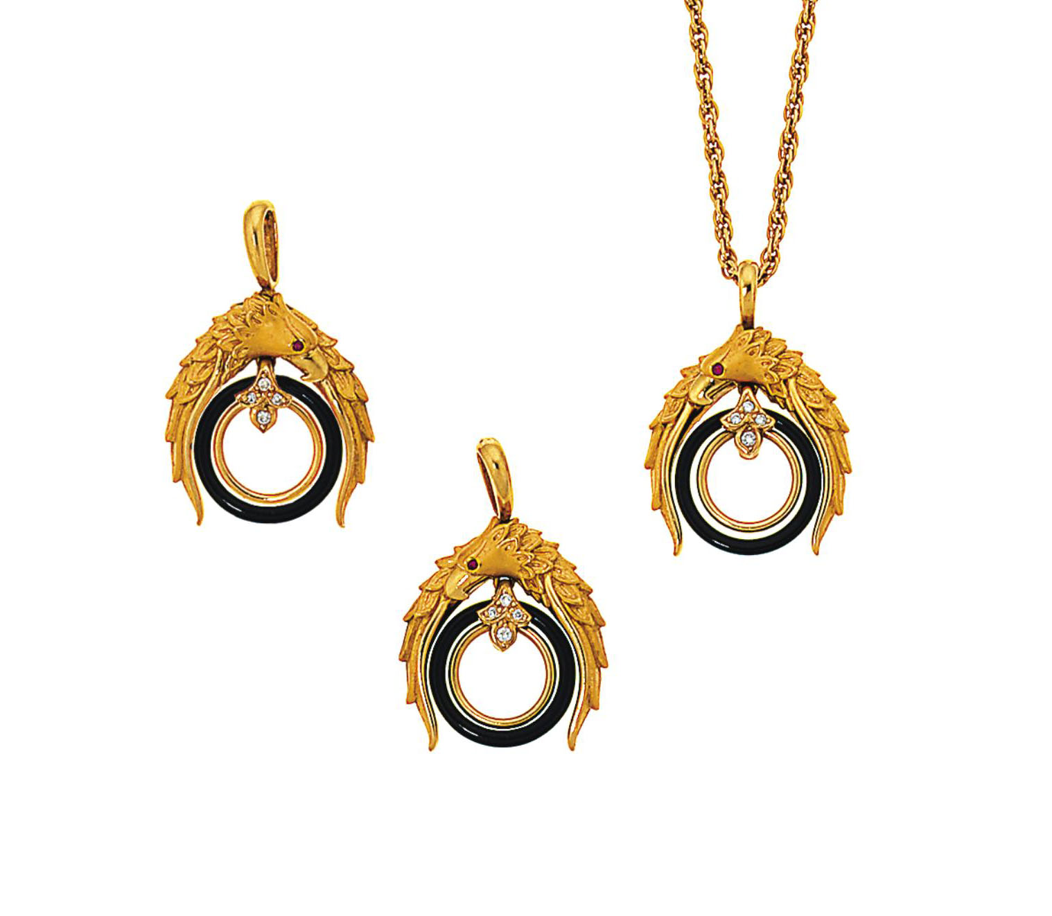 A pair of diamond, onyx and ruby-set earrings and pendant necklace, by Carrera y Carrera