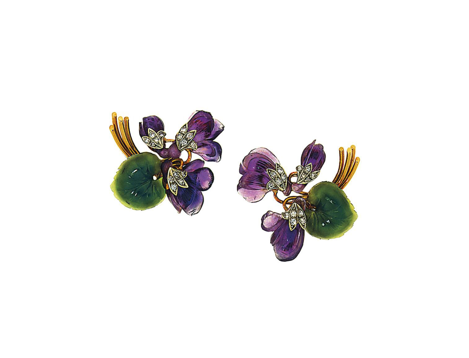 A pair of amethyst, nephrite a
