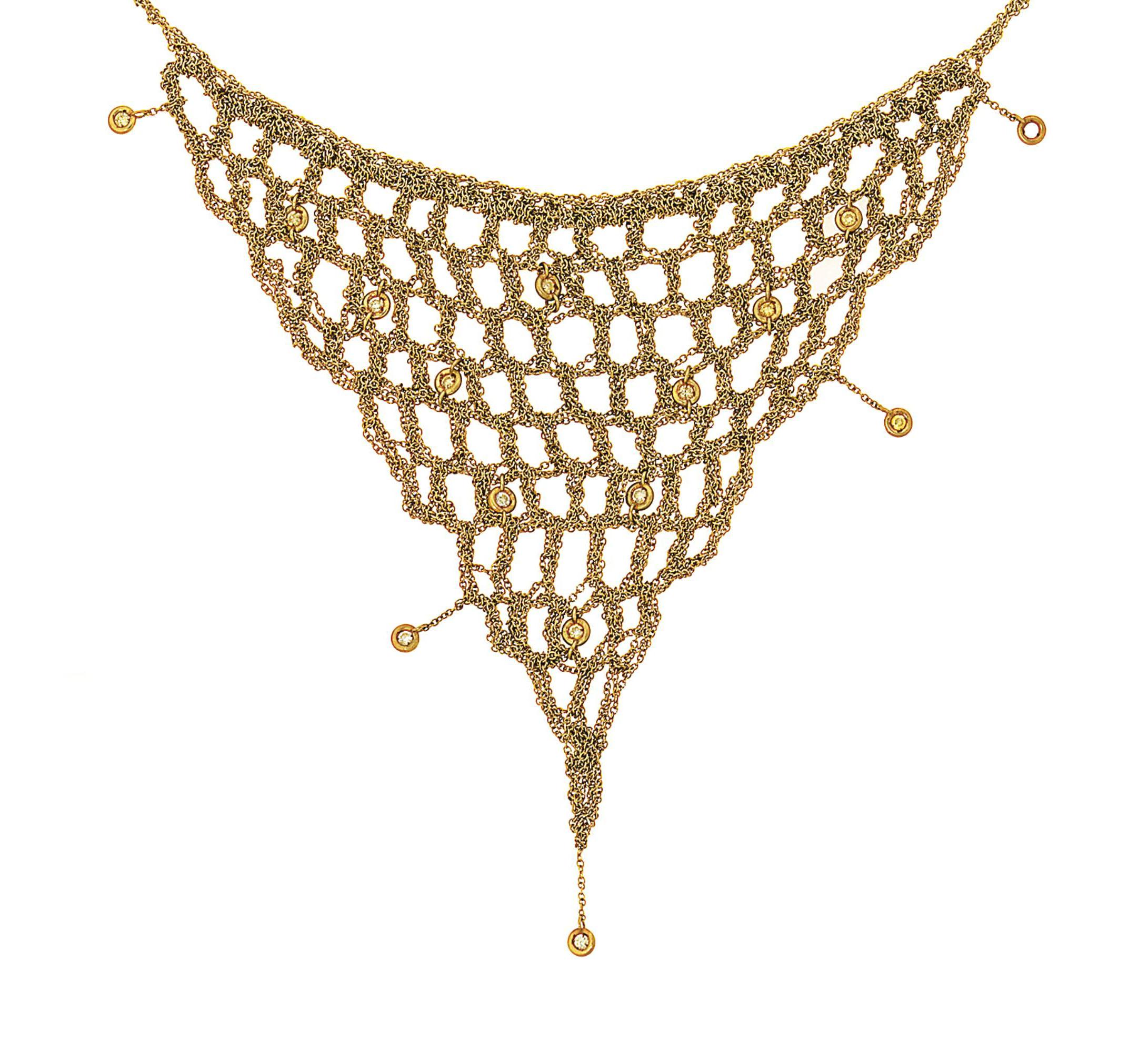 A coloured diamond mesh neckla