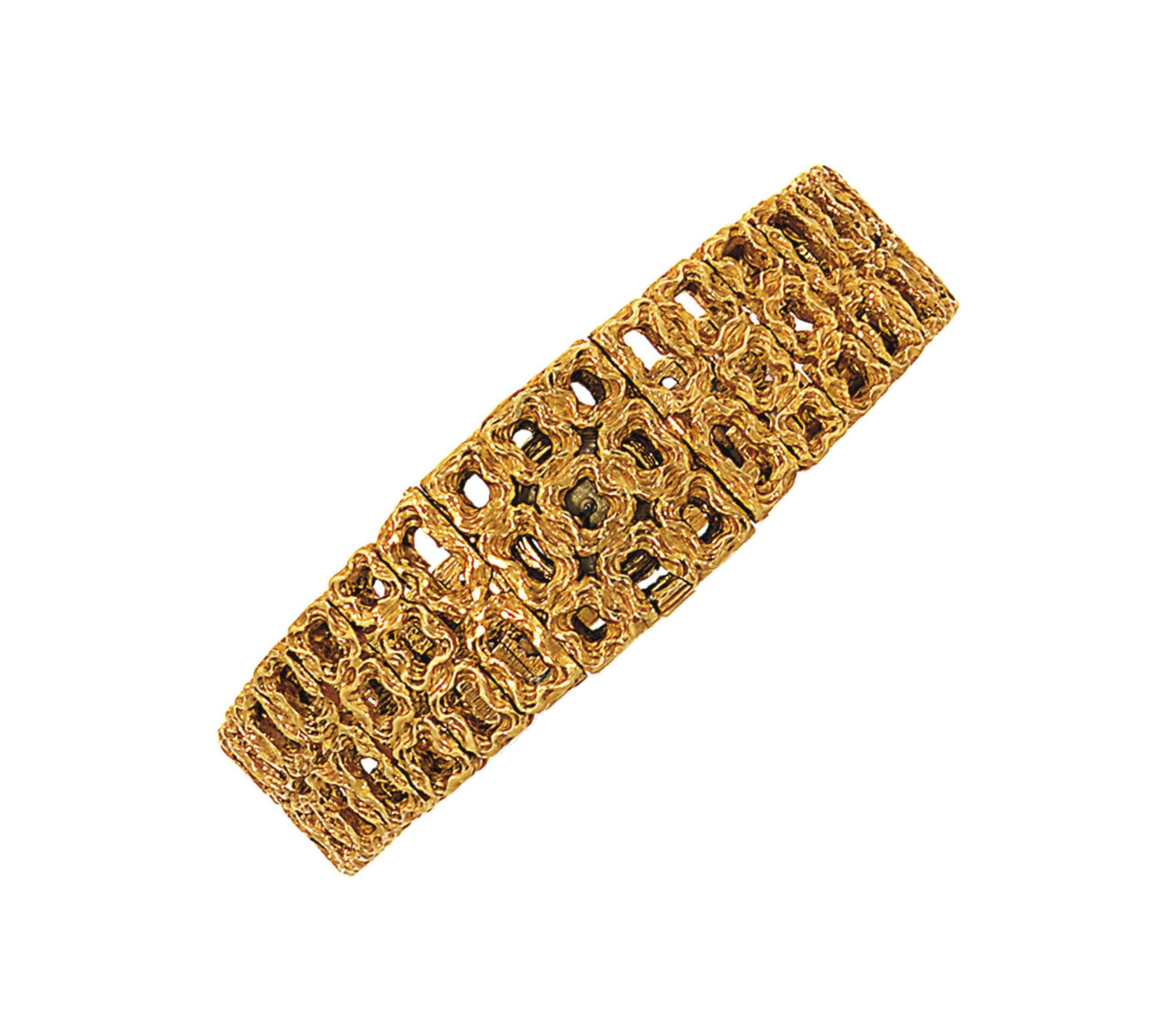 An 18ct gold bracelet watch, d
