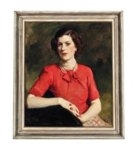 Portrait of a lady in a red pussy bow blouse