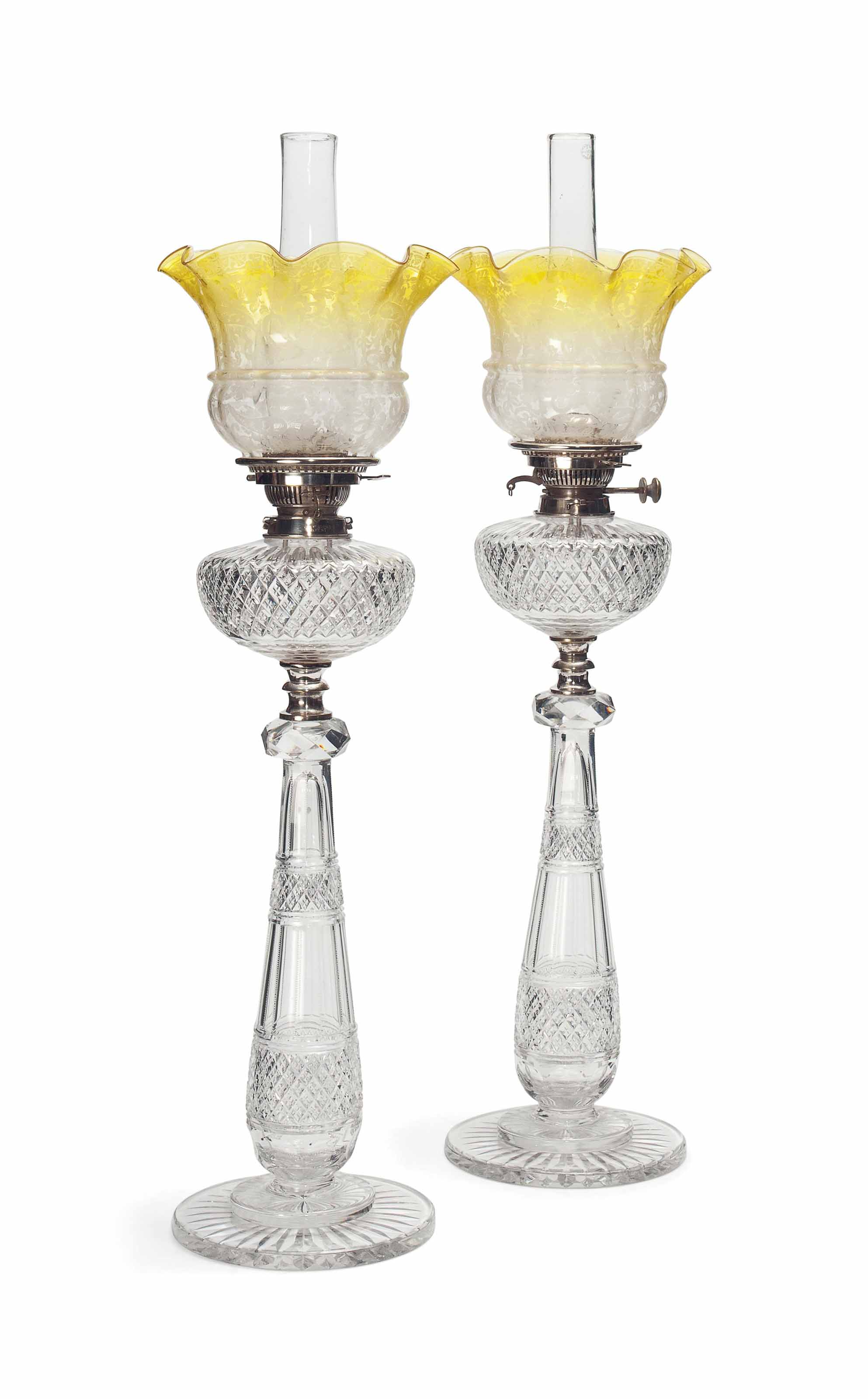 A PAIR OF VICTORIAN CUT-GLASS OIL LAMPS
