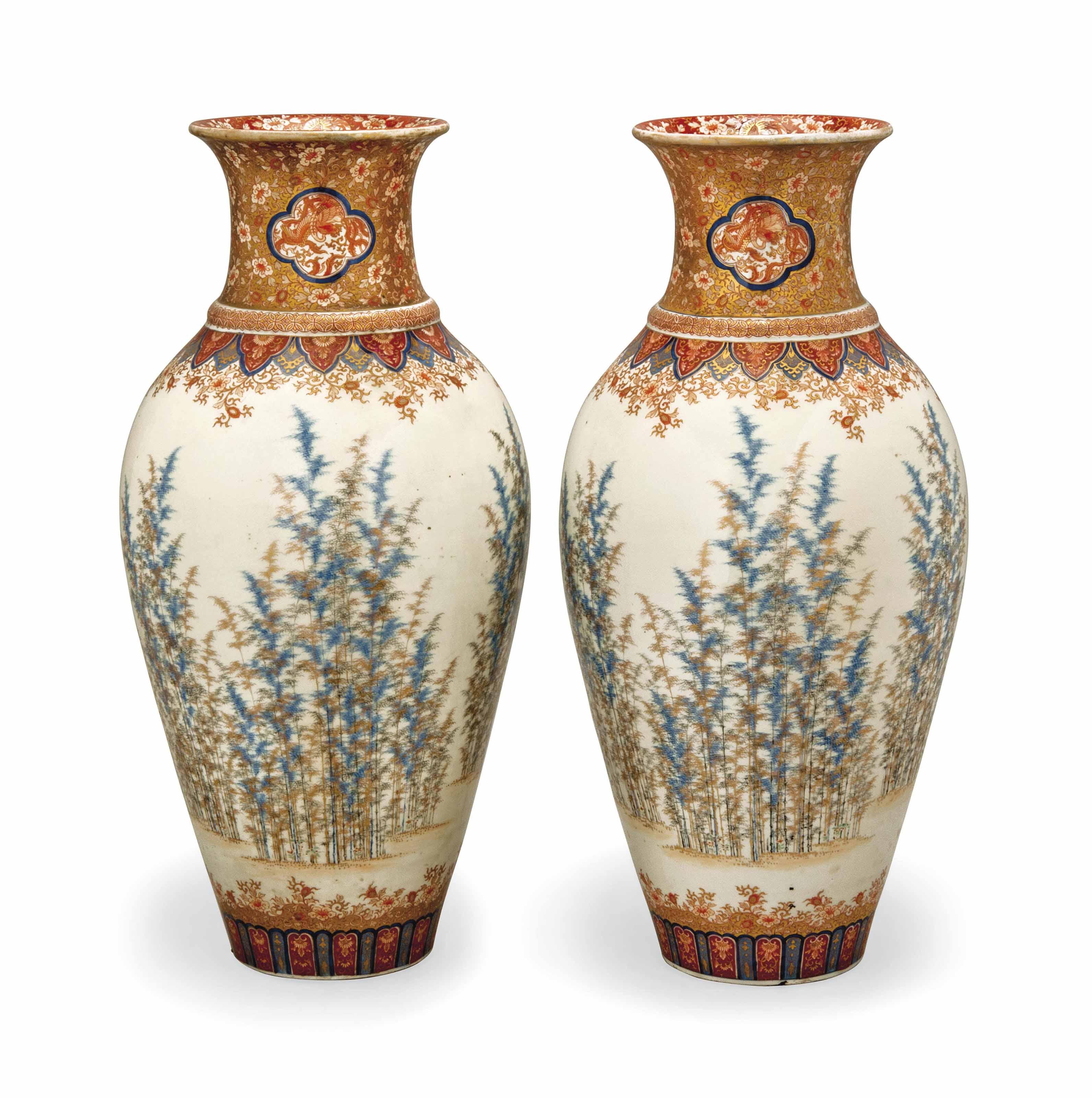 A Pair of Japanese Fukagawa Vases