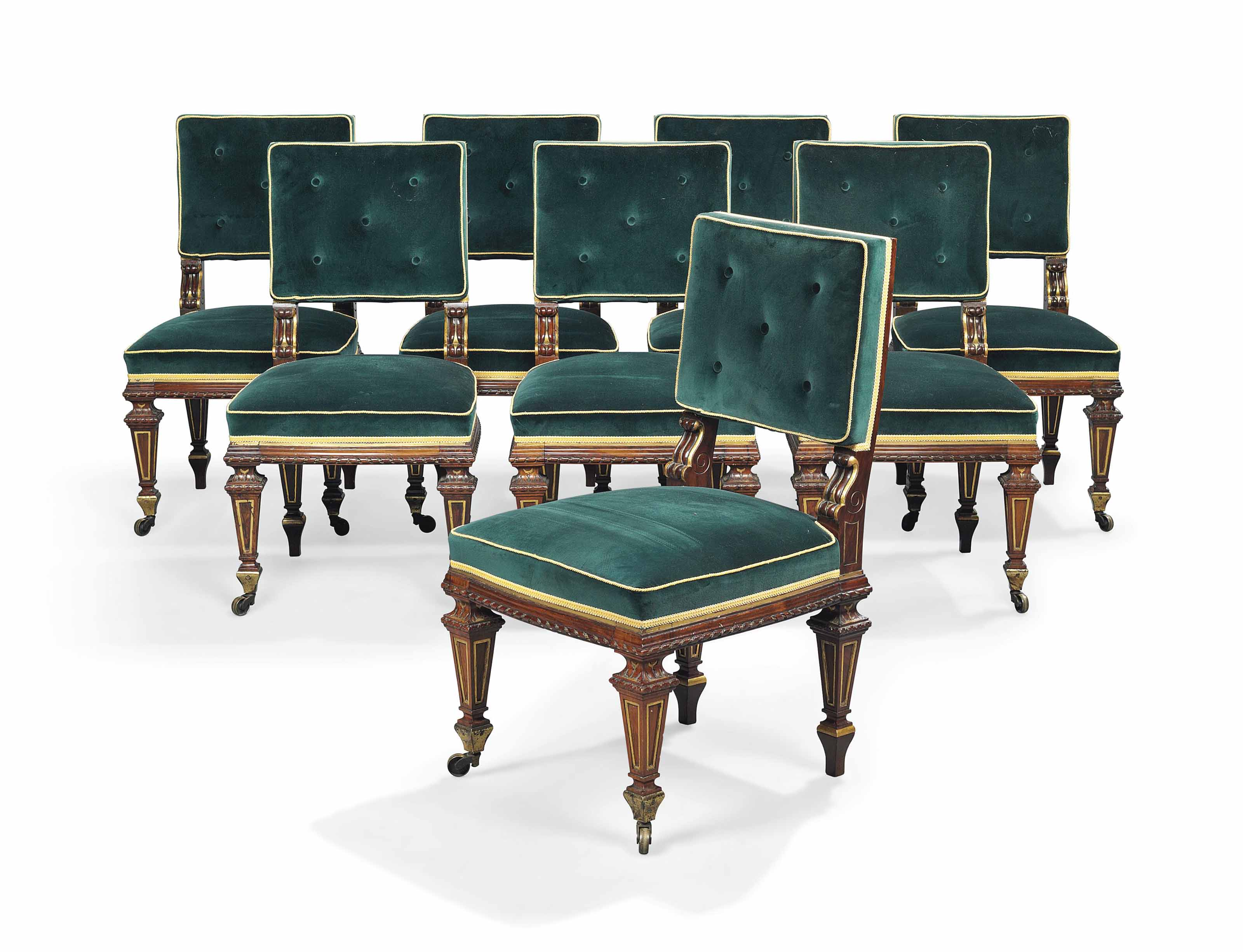 A SET OF EIGHT VICTORIAN WALNUT AND PARCEL GILT DINING CHAIRS