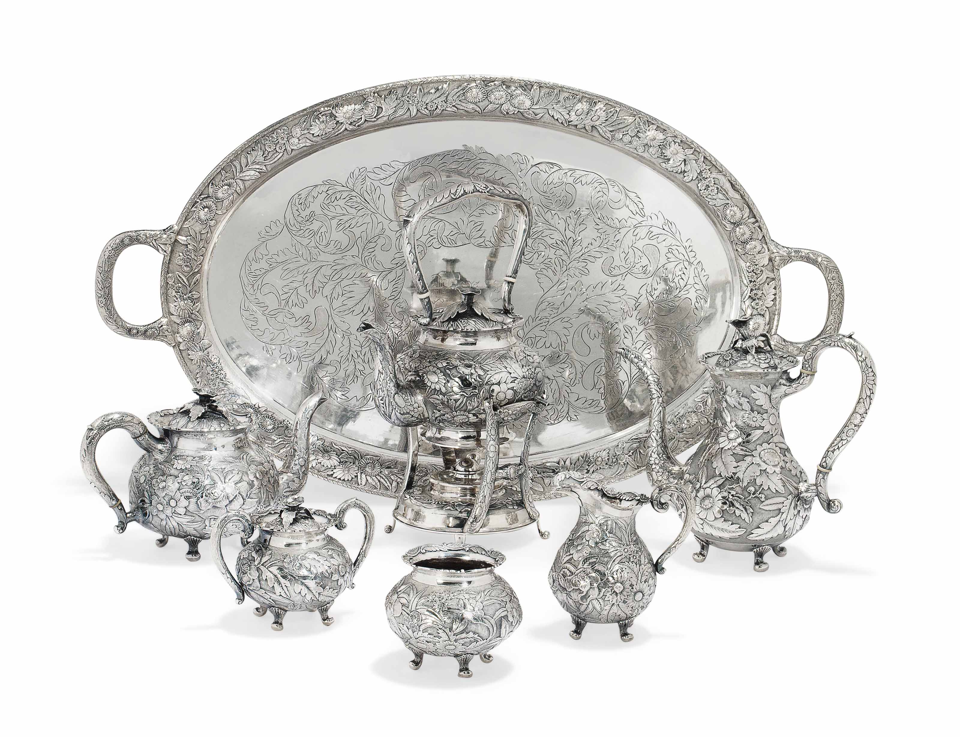 A CHINESE SILVER SIX-PIECE TEA