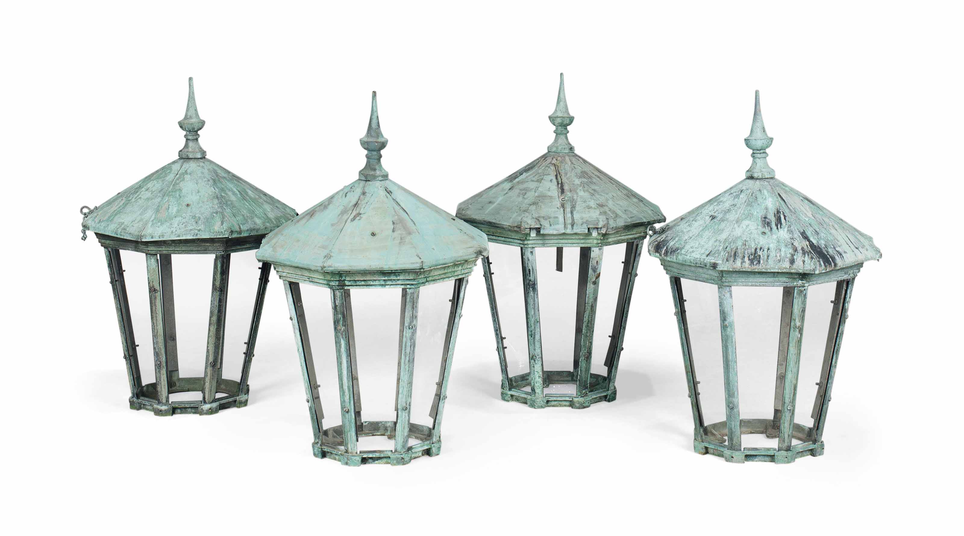 A SET OF FOUR COPPER PIER LANT