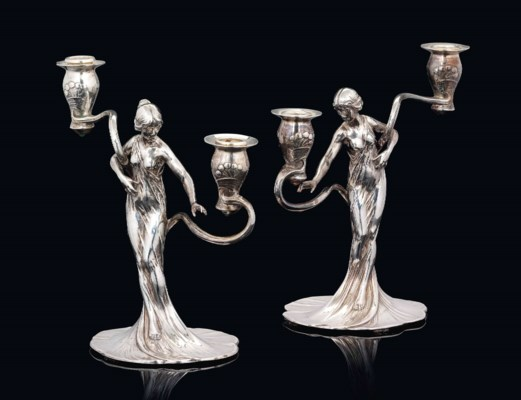 A PAIR OF WMF SILVERED-METAL F