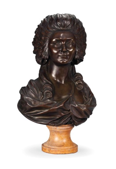 A FRENCH BRONZE BUST OF MADAME