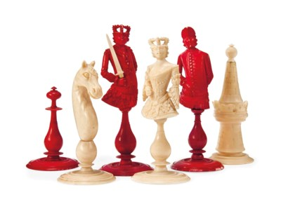 A GERMAN IVORY BUST TYPE CHESS