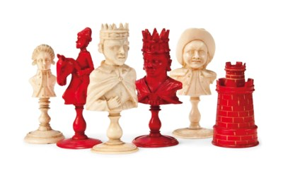 A FRENCH IVORY BUST TYPE CHESS