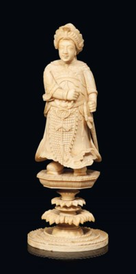A LARGE CHINESE-EXPORT IVORY C