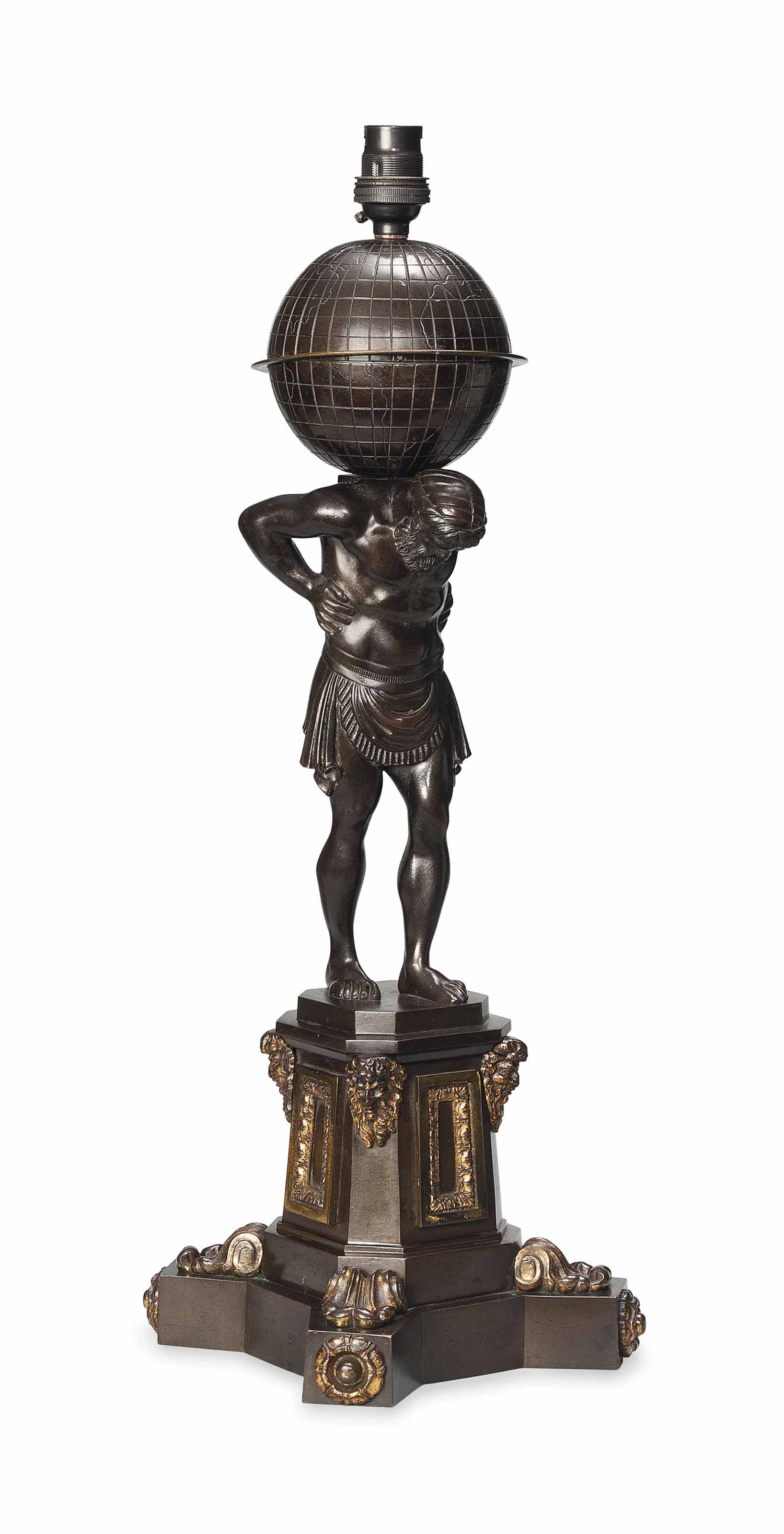 A WILLIAM IV BRONZE LAMP MODELLED AS ATLAS