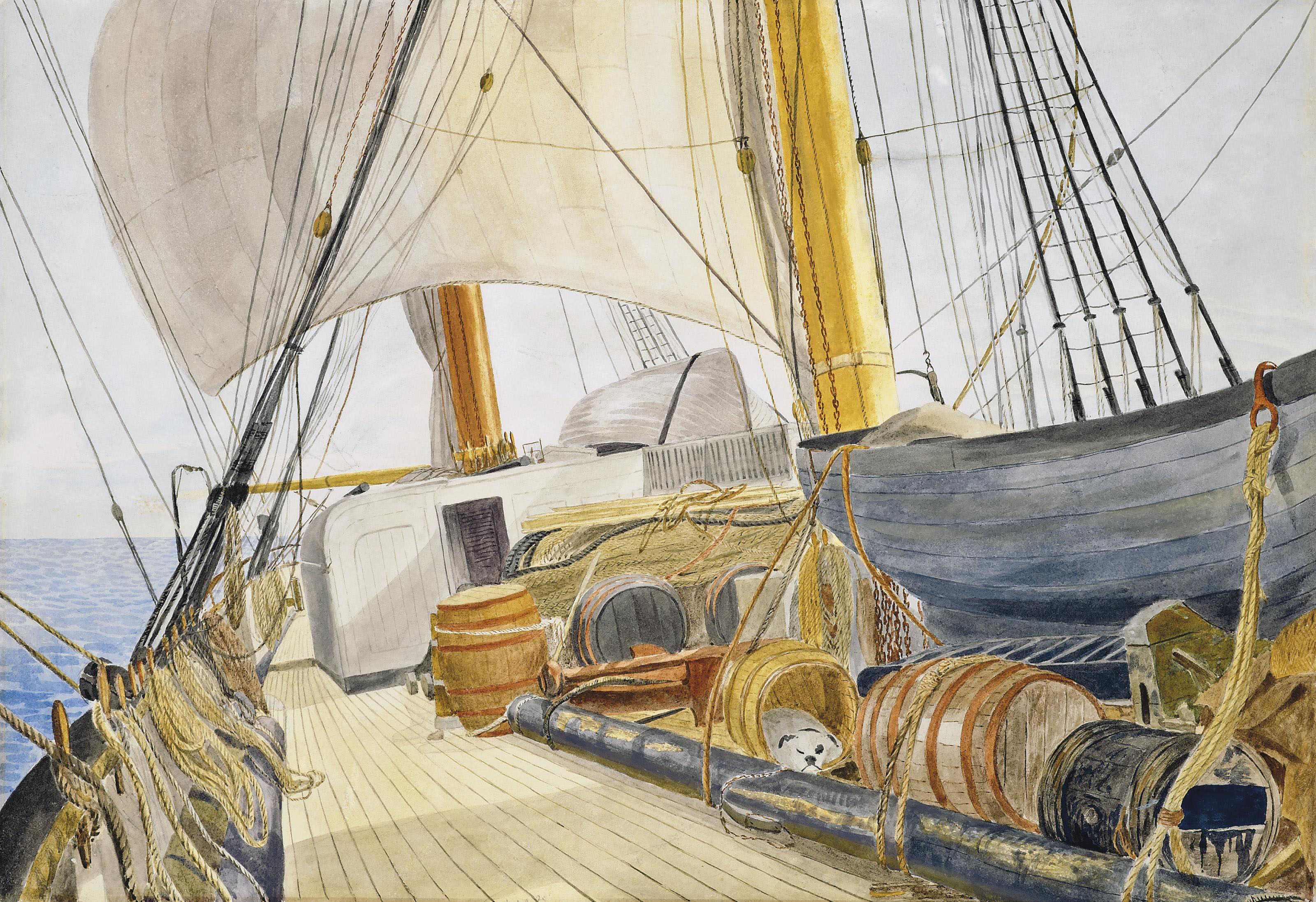 Evening prayers on an emigrant ship; and Crossing the ocean to distant lands (illustrated)