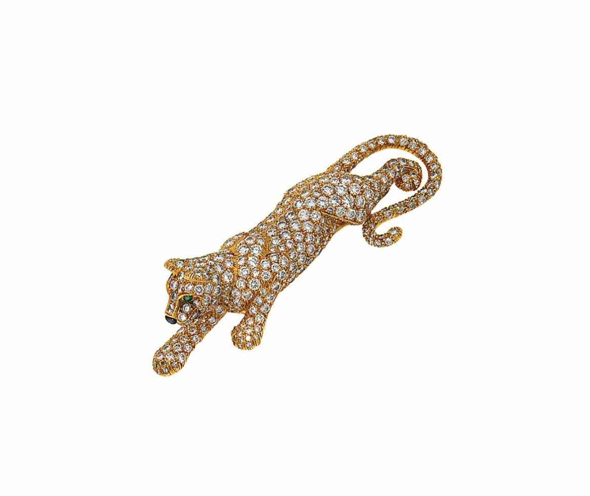 opulent brooch jewelers panthere gold cartier yellow diamond
