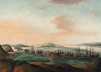 Whampoa Anchorage, from Dane's Island, with British, American, Portuguese, French, Swedish, Danish and Dutch shipping