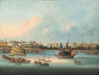 The waterfront at Canton showing the American, French, British and Danish factories and the Protestant Church