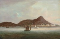 Hong Kong, with junks and British and American shipping offshore