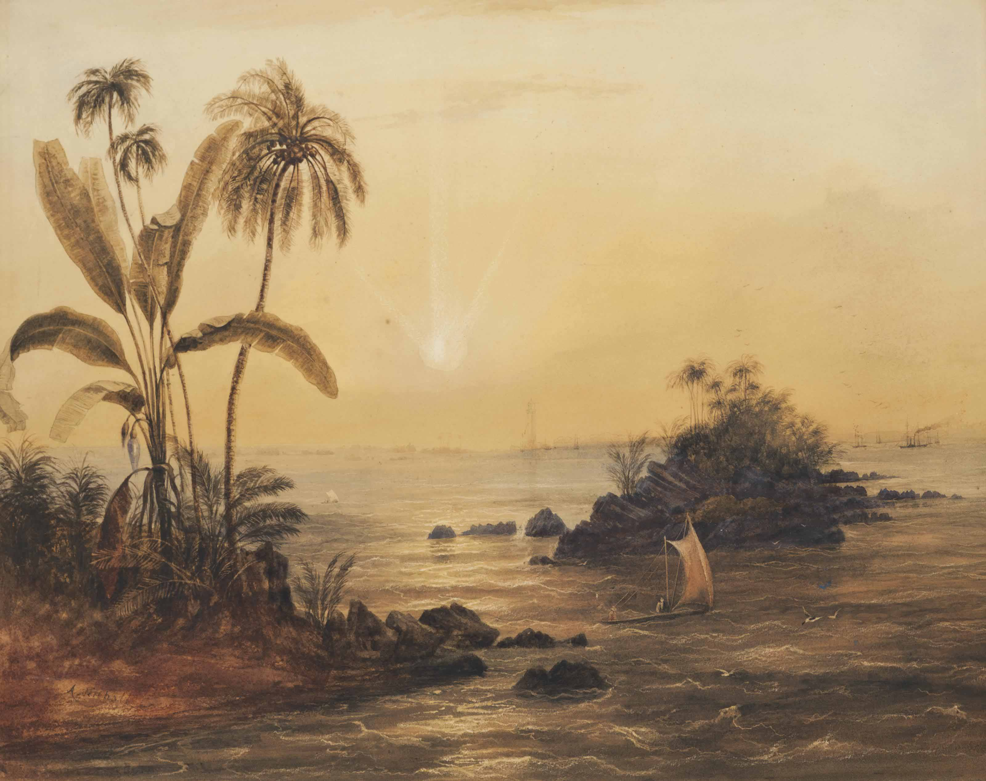 The Lighthouse and Harbour, Galle, Ceylon