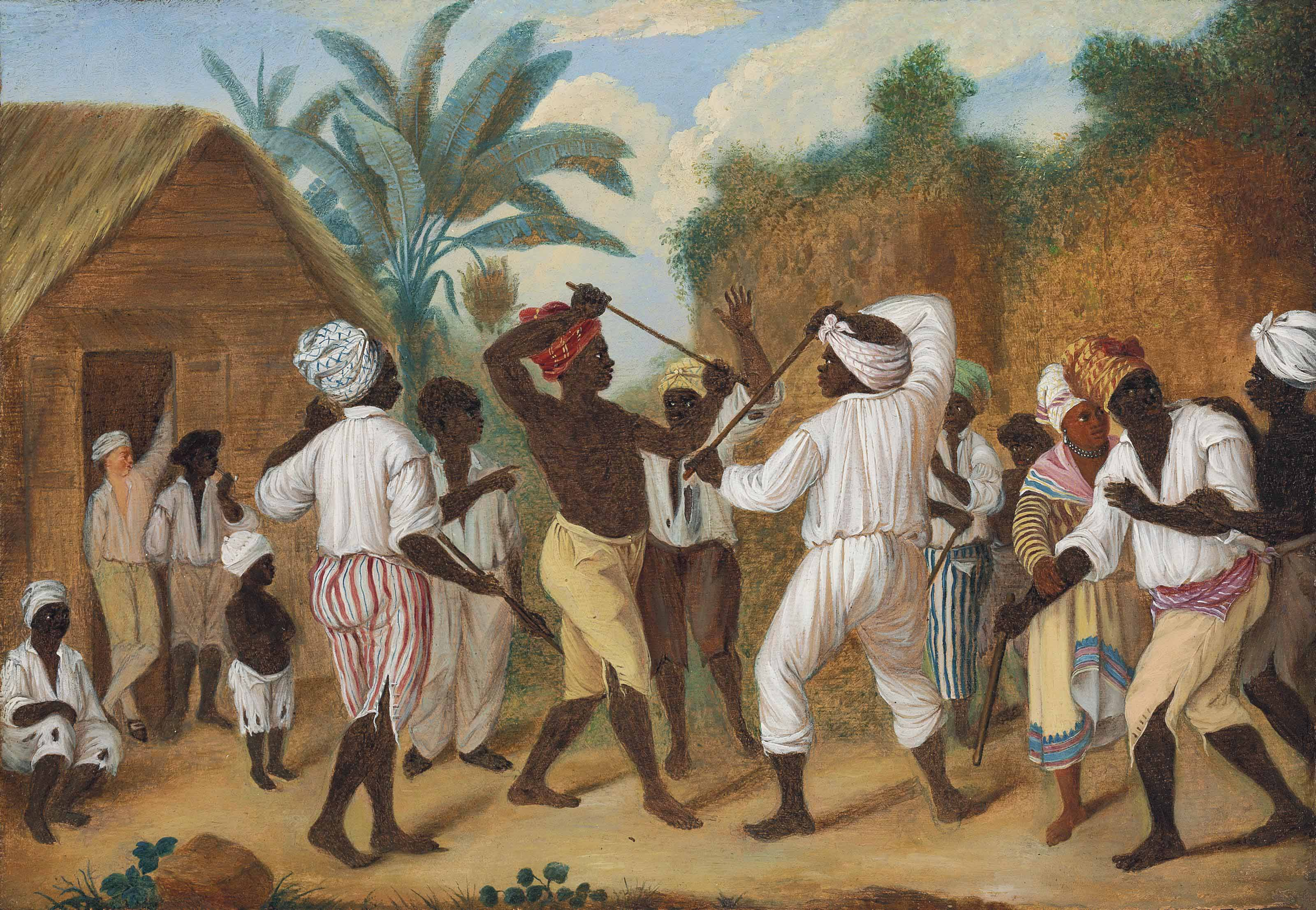 A Cudgelling Match between English and French Negroes in the Island of Dominica