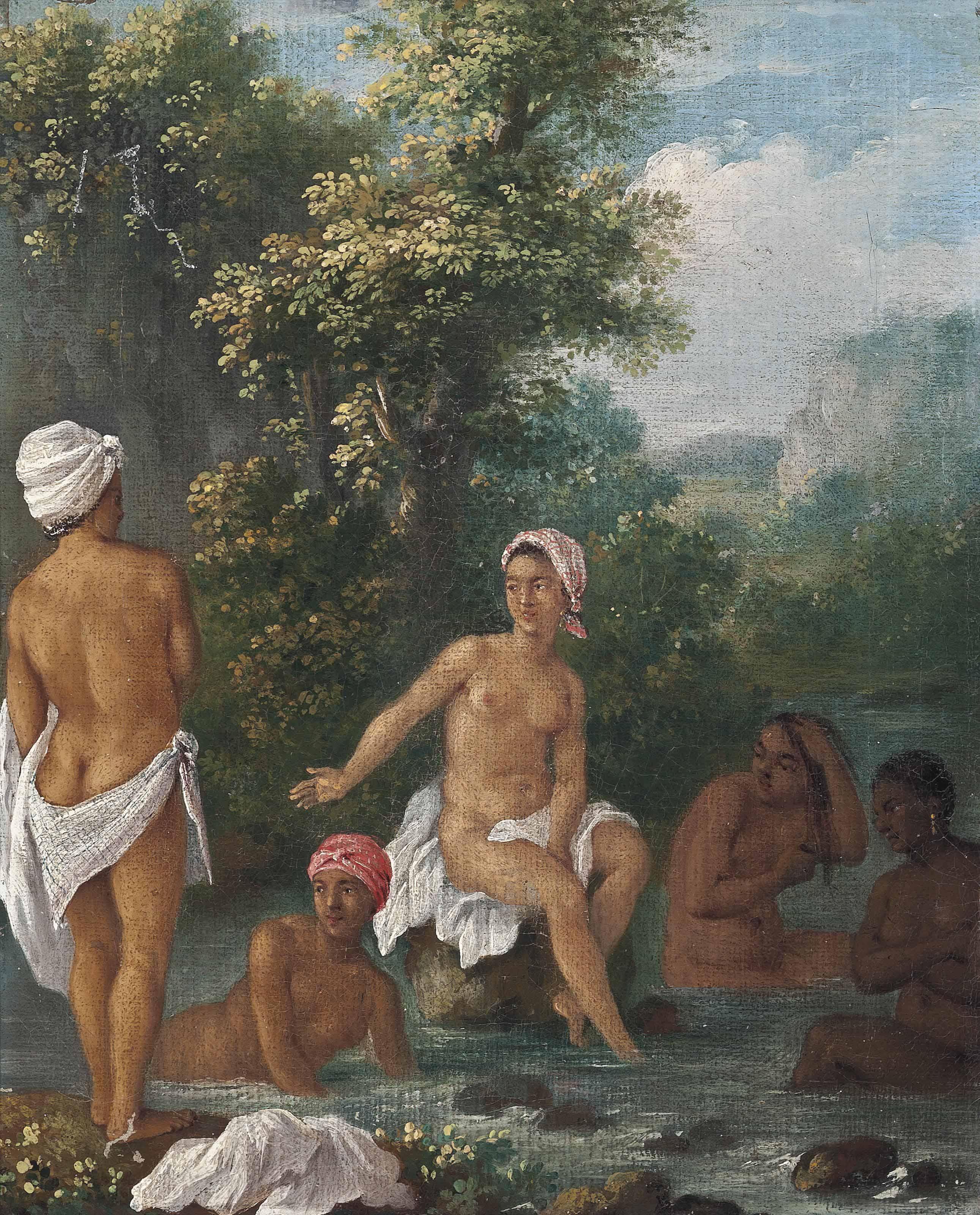 Free women of Dominica bathing in a stream