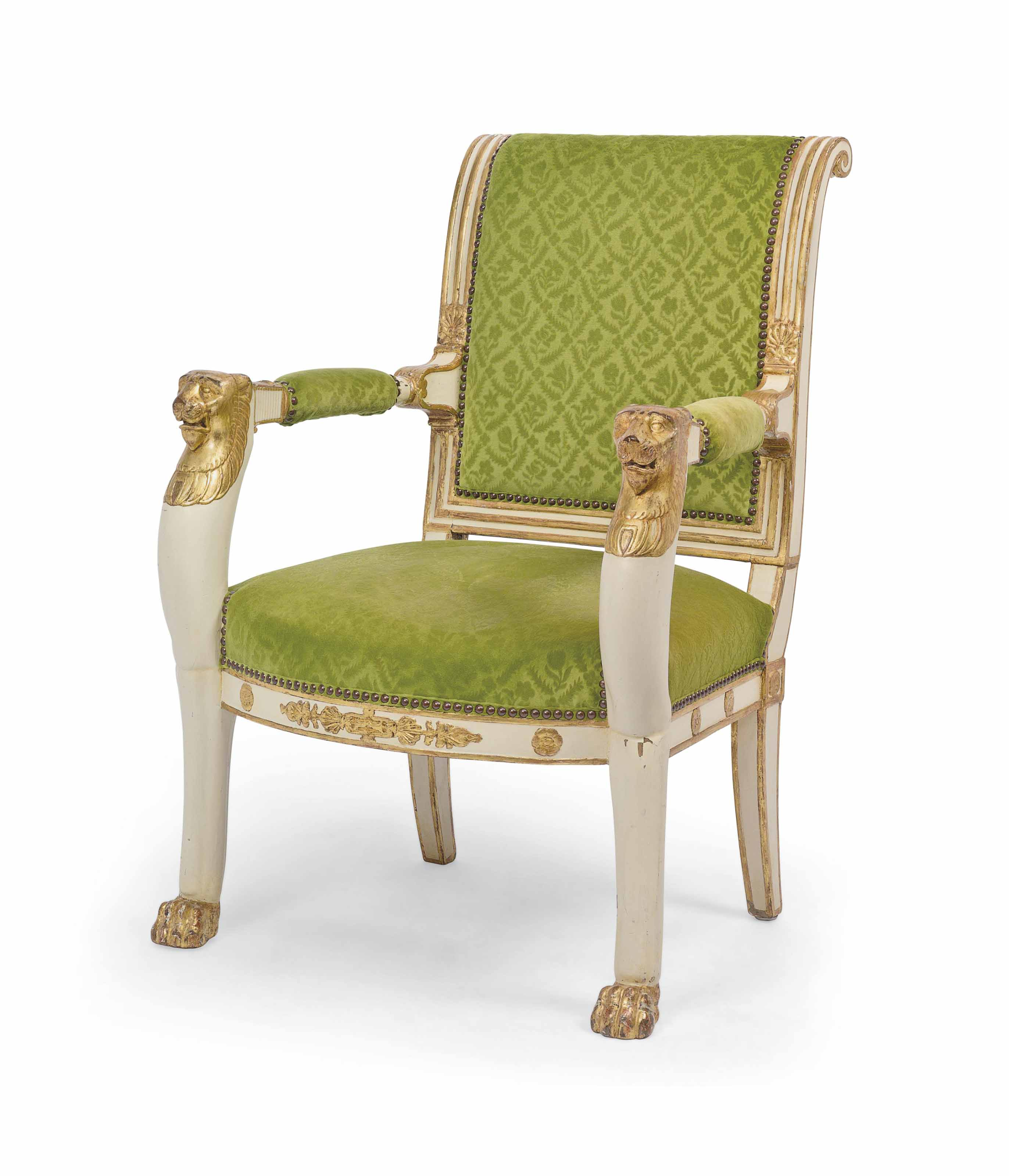 Fauteuille Europeen : A north european empire parcel gilt and white painted