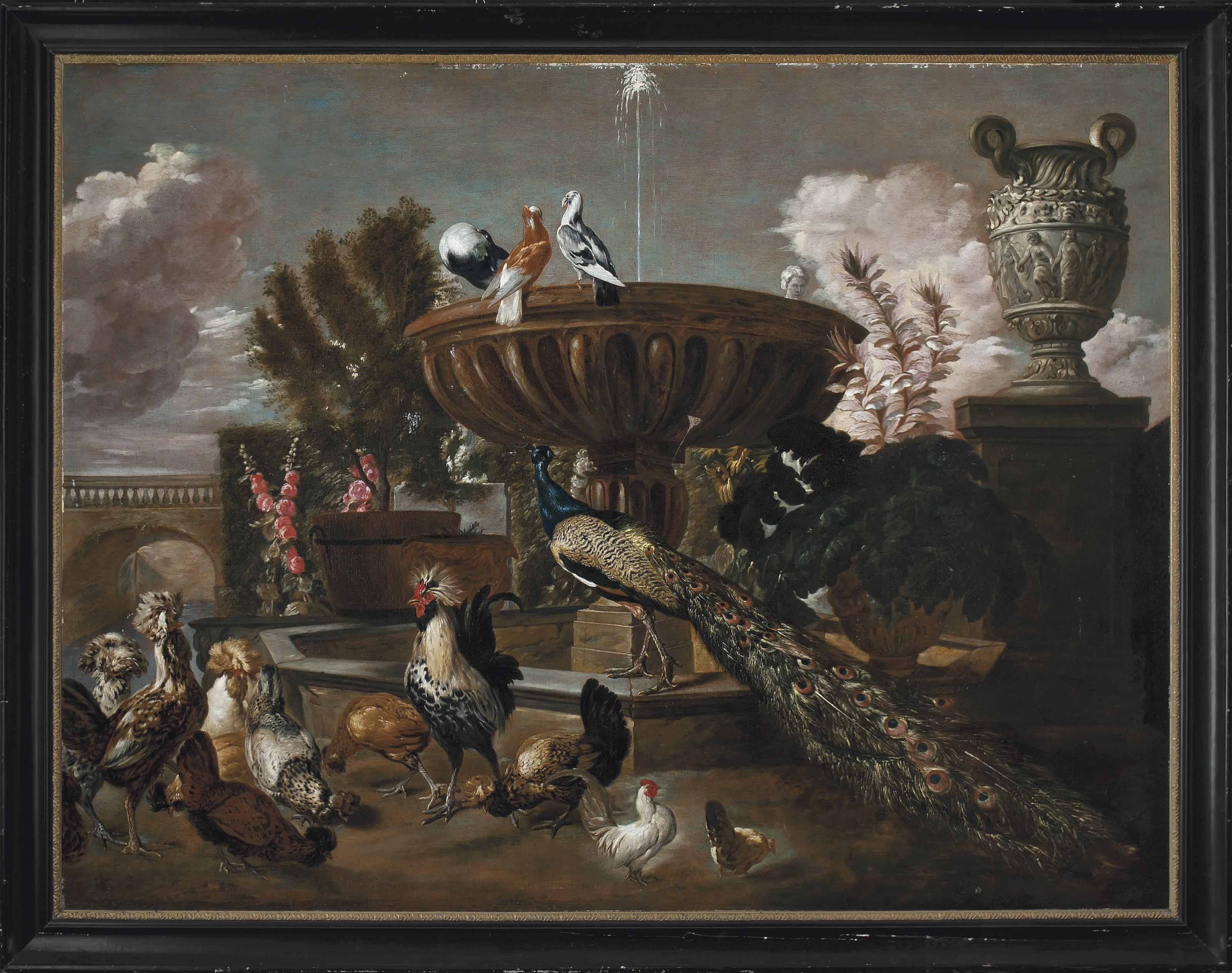 A peacock, cockerels, hens, turtle doves and other birds by a fountain in an ornamental garden