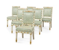A SET OF SIX EMPIRE WHITE-PAINTED PARCEL-GILT CHAISES