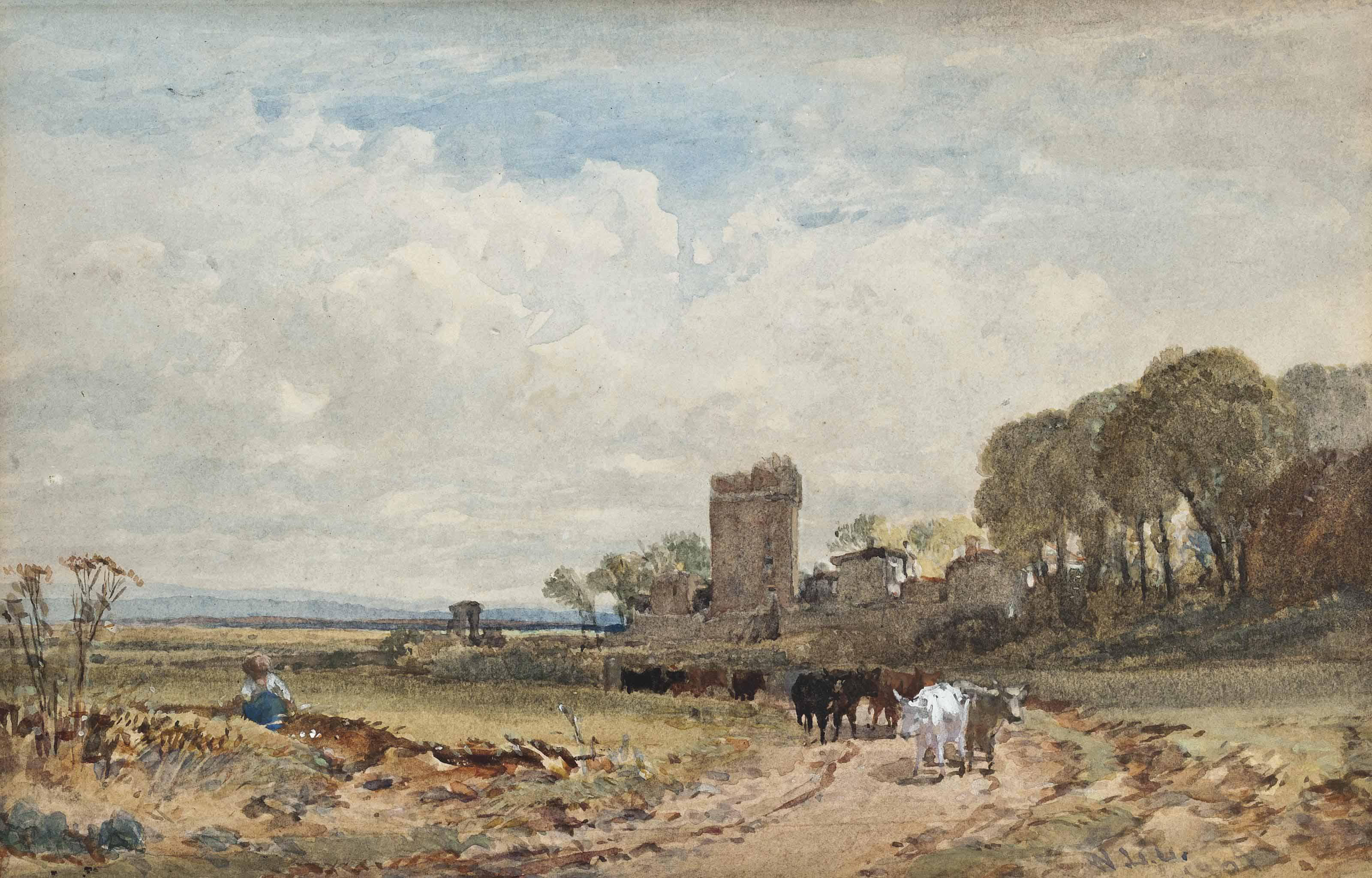 Cattle on a country track before a ruined tower (illustrated); A drover and cattle before a ruined castle at dusk; and Figures walking on a country lane before a tower
