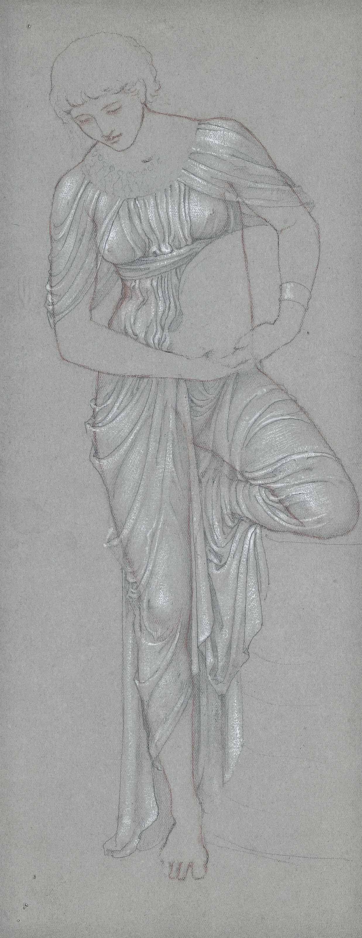 Drapery study: A young woman standing with one bent knee