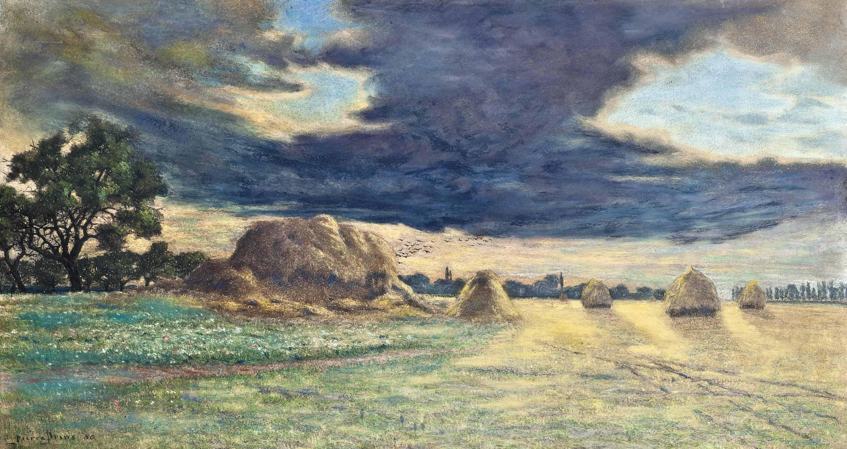 Haystacks at sunset