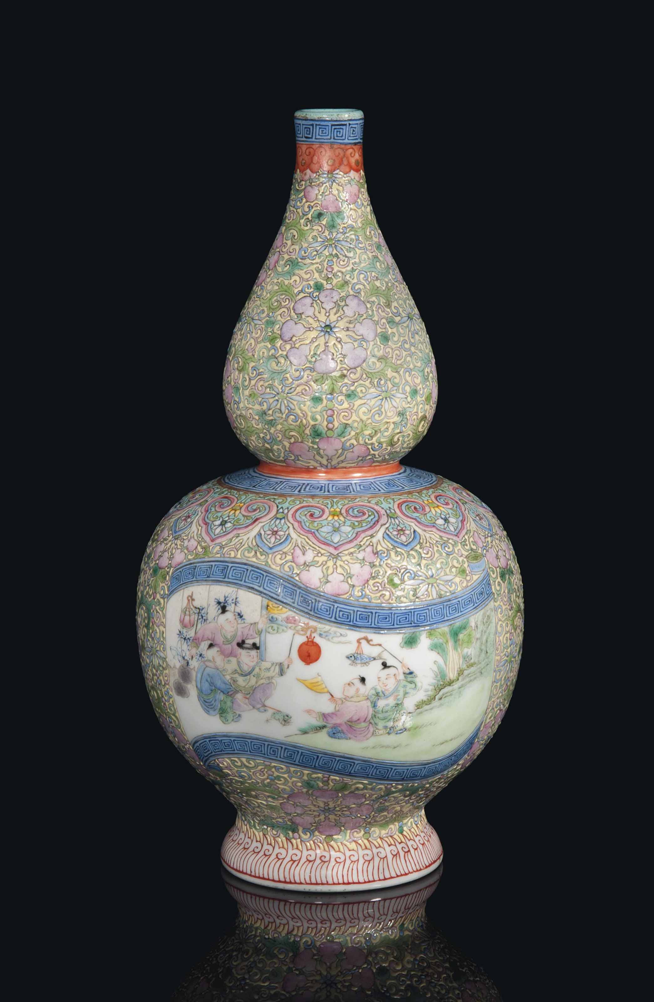 A Chinese Famille Rose Double Gourd Vase Republic Period 1912 49 Christie S