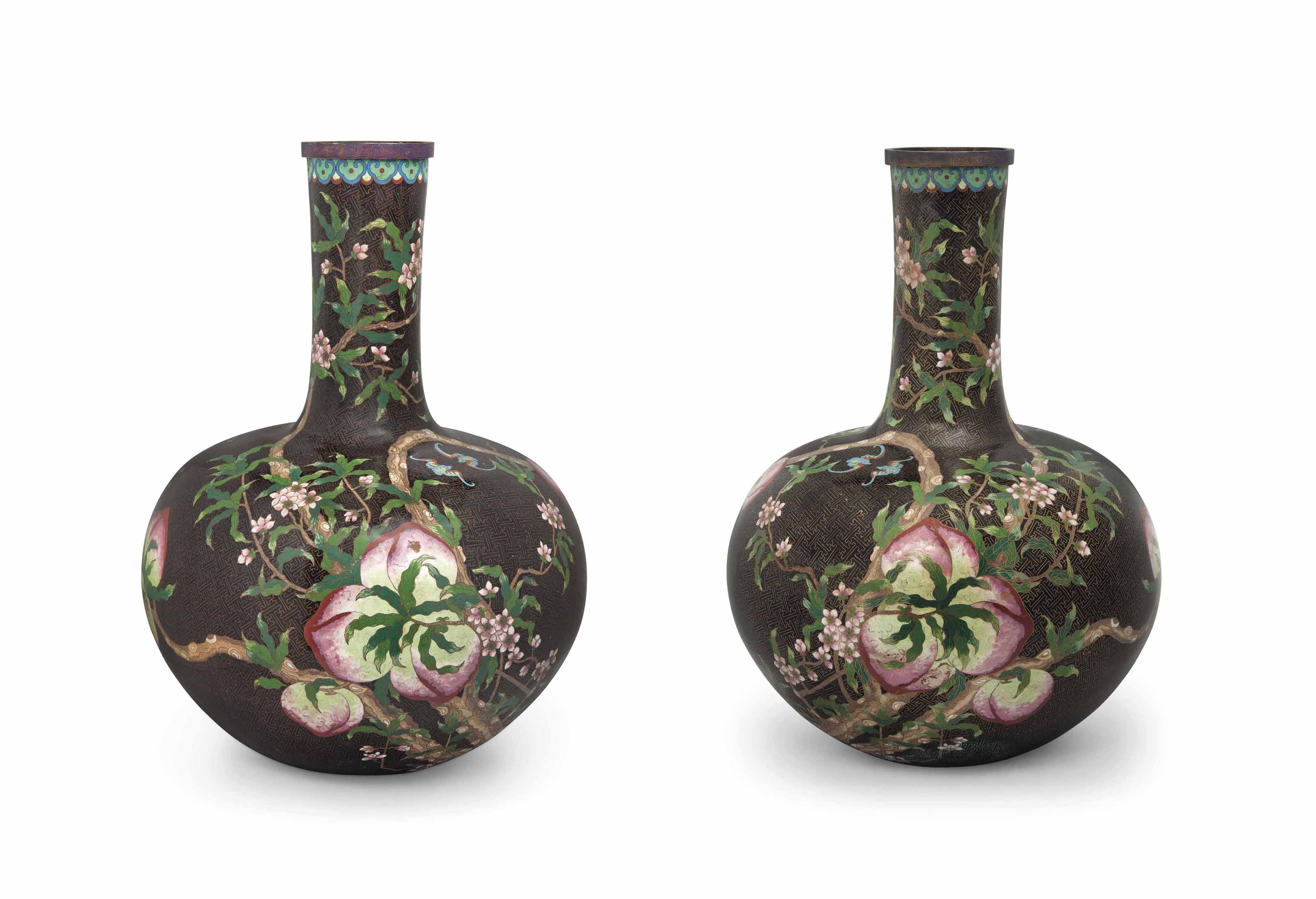 A VERY LARGE PAIR OF CHINESE CLOISONNÉ ENAMEL BOTTLE VASES