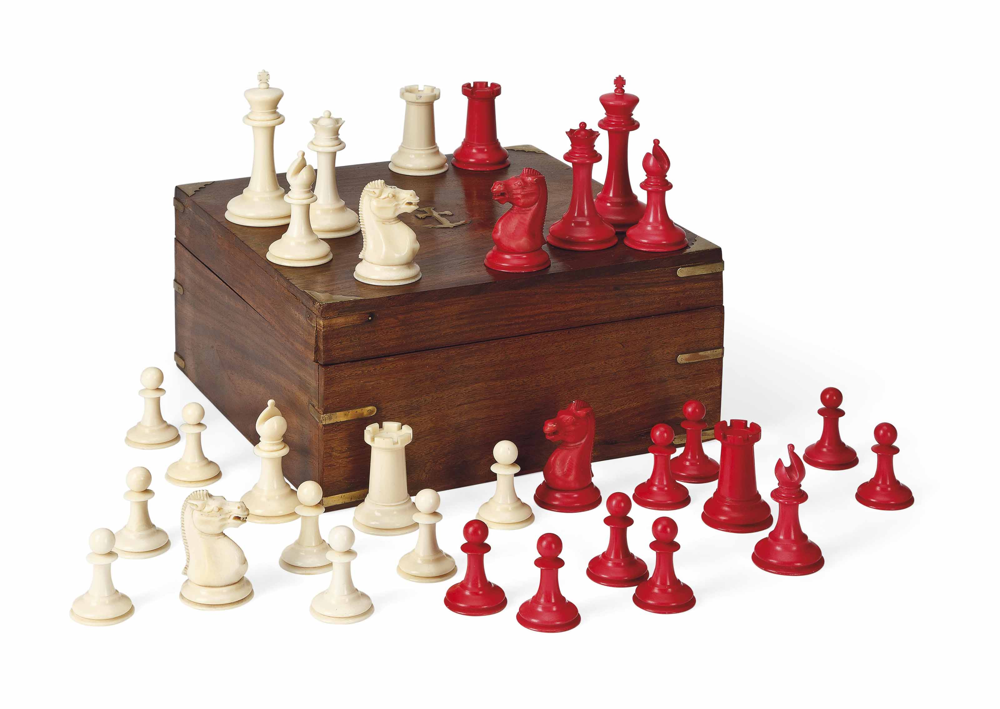 A VICTORIAN IVORY 'STAUNTON' PATTERN CHESS SET