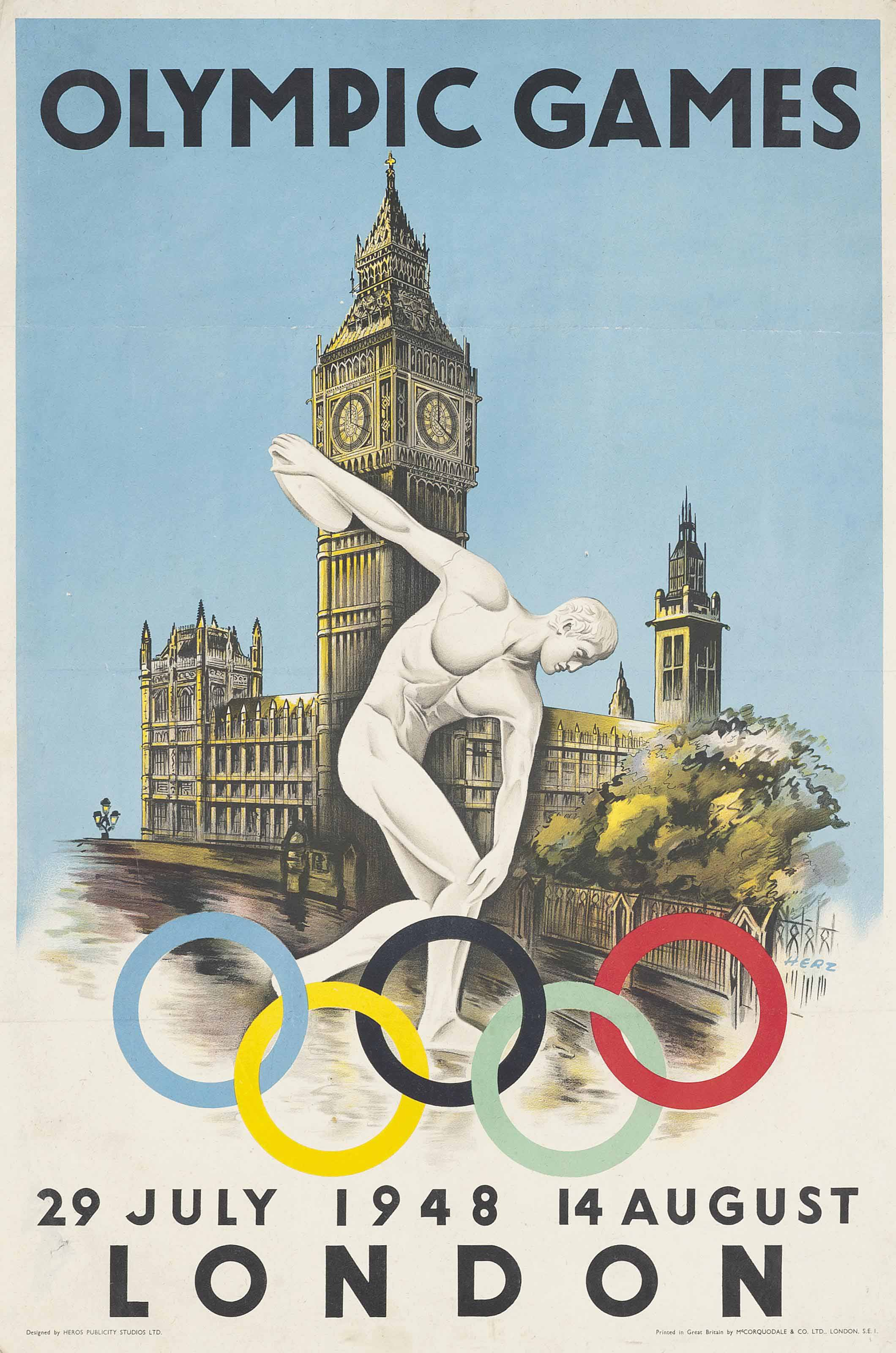 Walter Herz 1909 Olympic Games London 1948 Posters Sporting