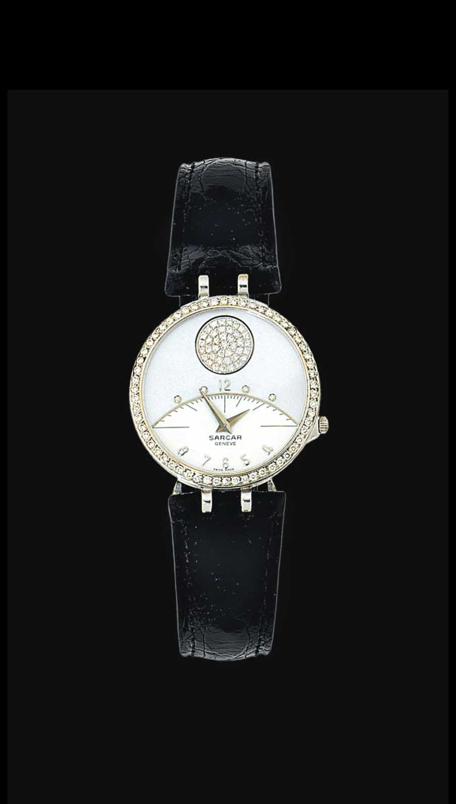 An 18ct white gold, mother-of-pearl and diamond-set quartz wristwatch, by Sarcar