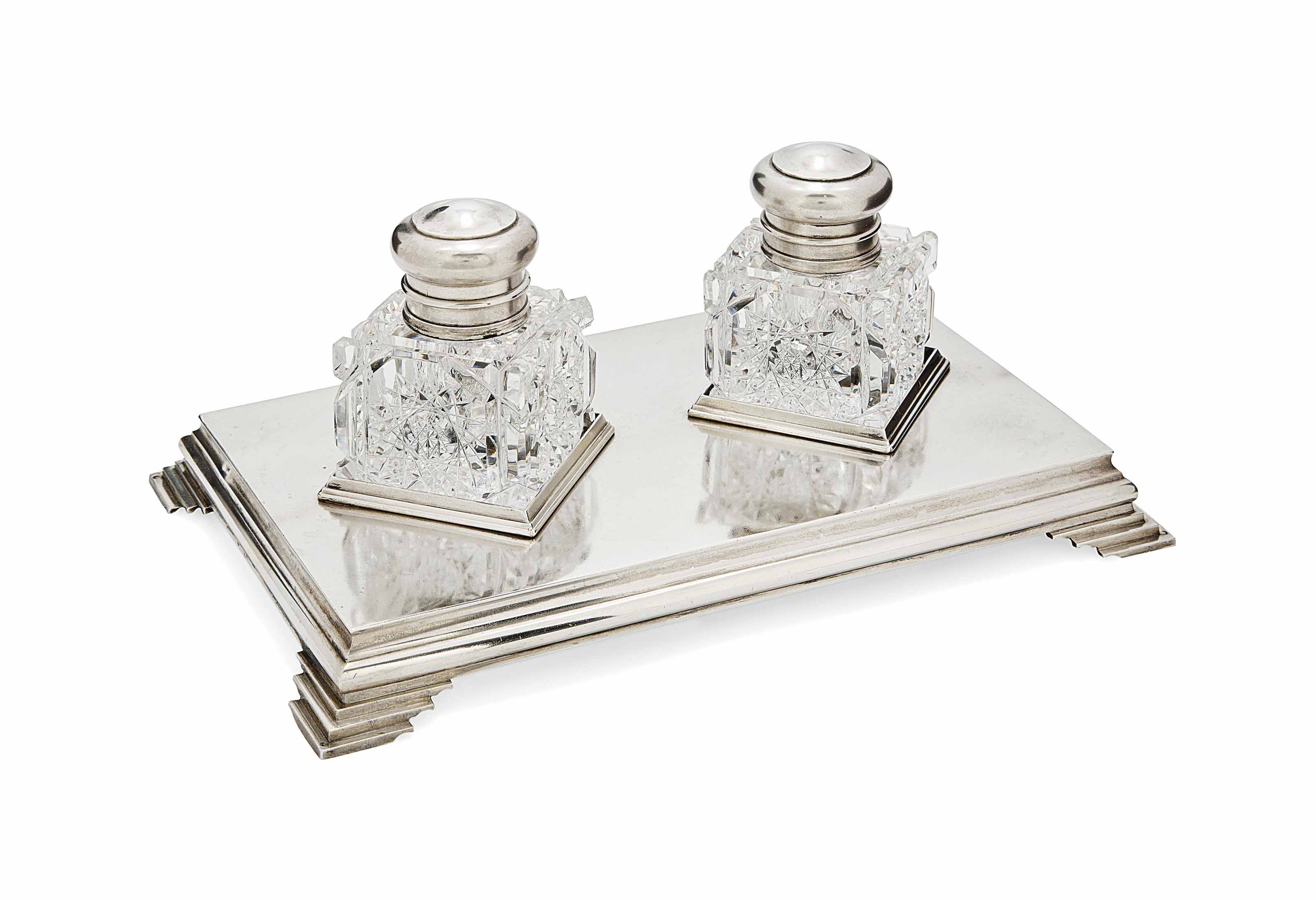 A RUSSIAN SILVER INKSTAND