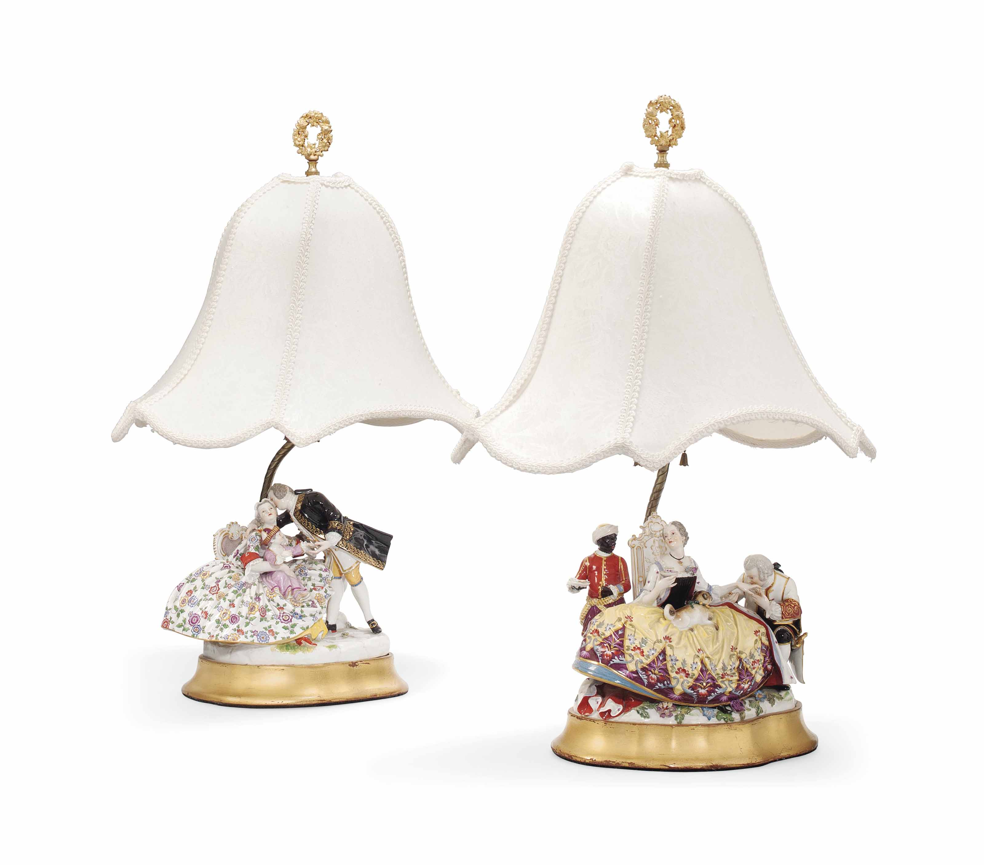 TWO MEISSEN CRINOLINE GROUPS ADAPTED AS LAMPS