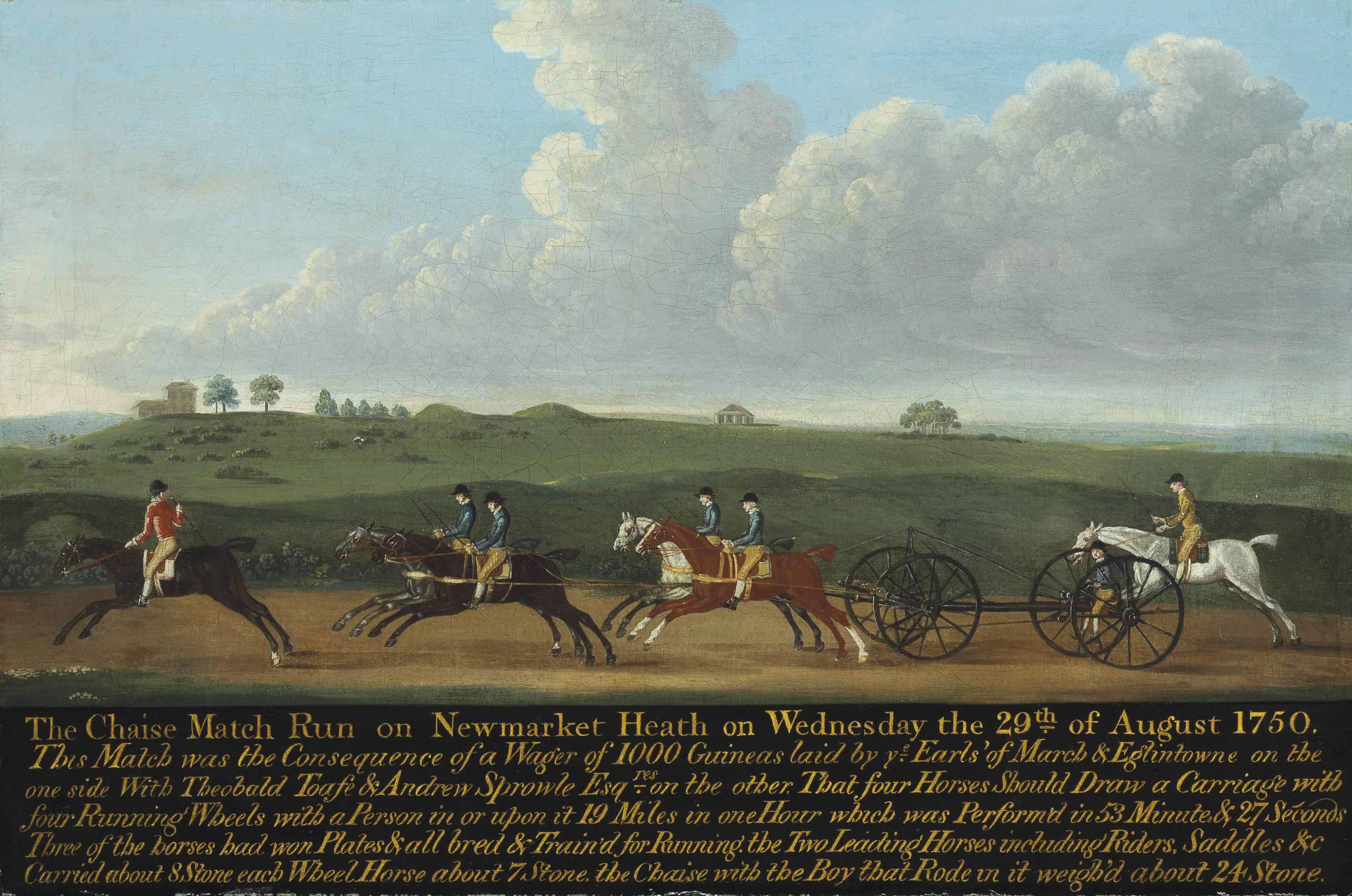 The chaise match run on Newmarket Heath on Wednesday 29 August 1750