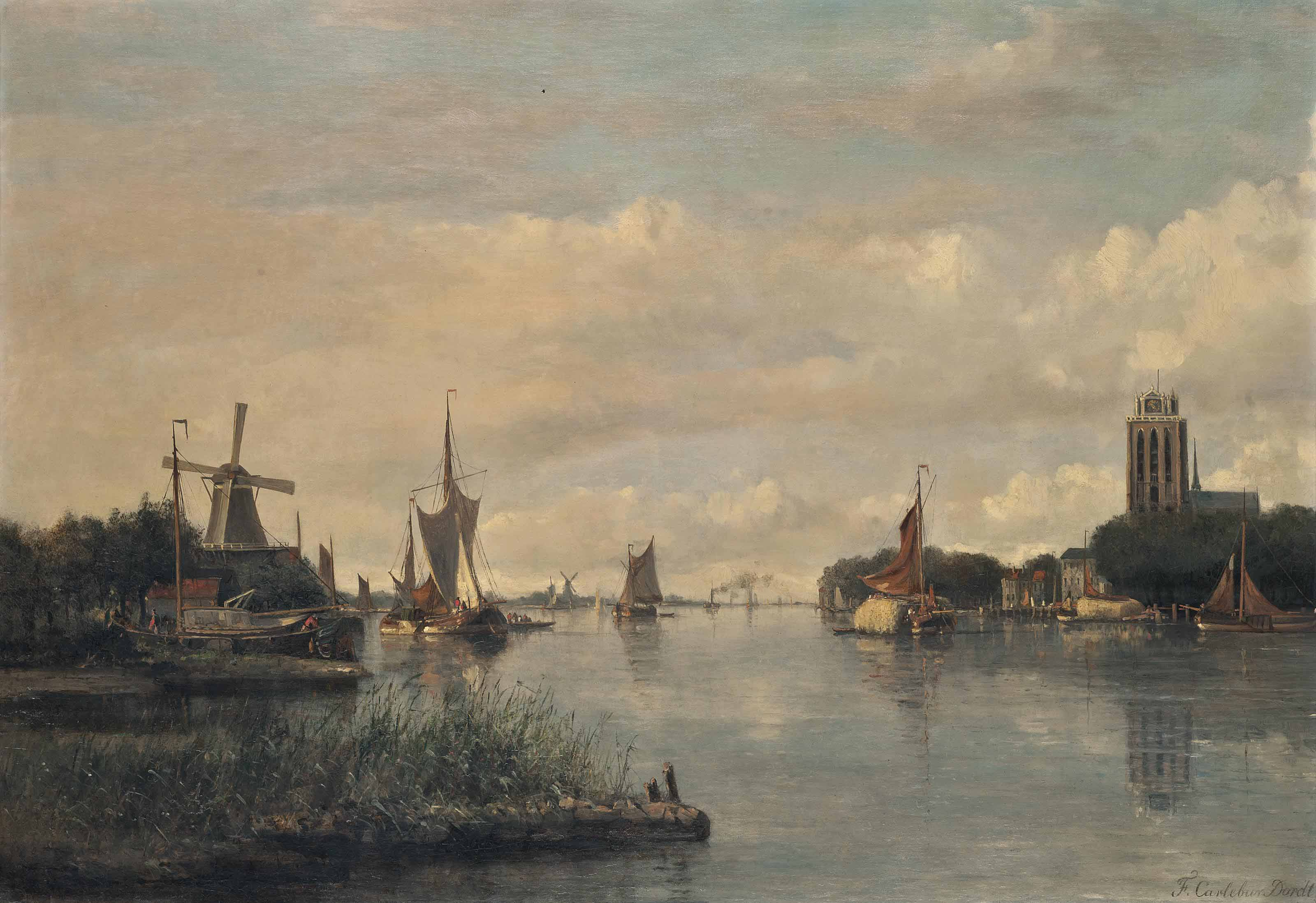 Vessels on the Oude Maas before the Grote kerk, Dordrecht