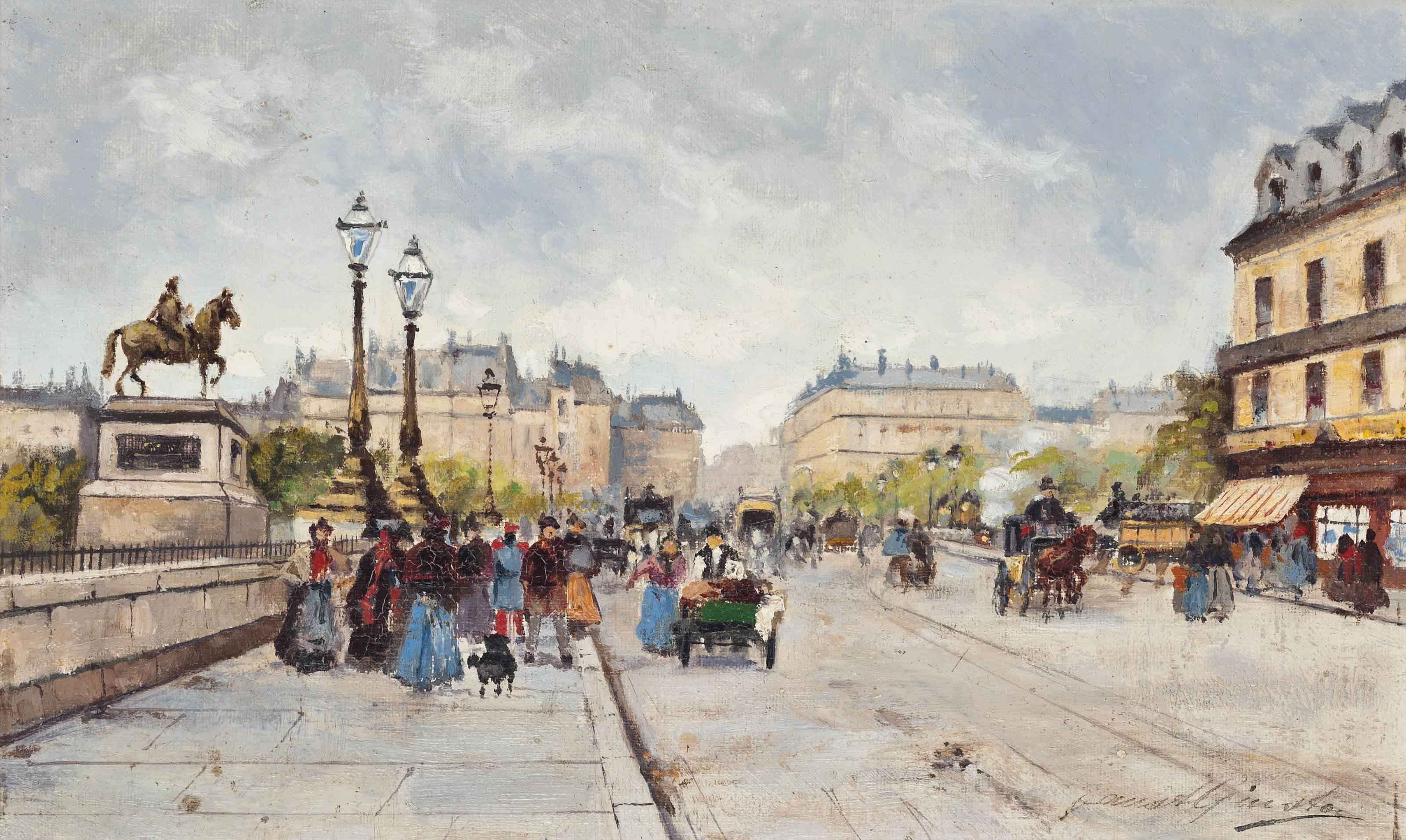 A busy day on the Pont Neuf, Paris