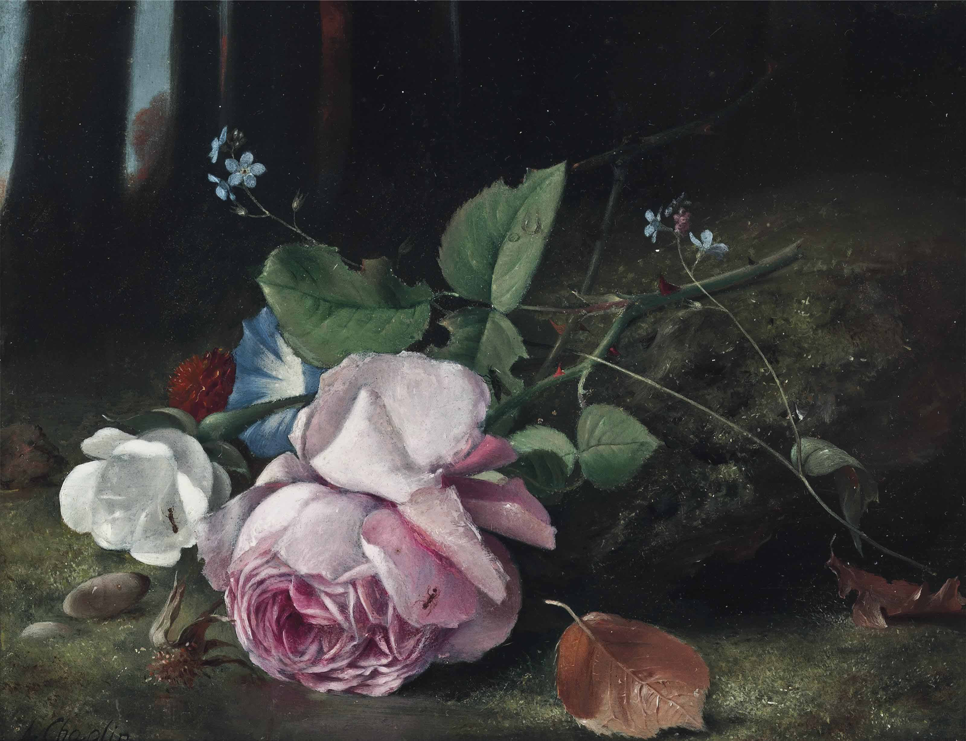 Roses, Forget-me-nots, and Convolvulus in a forest clearing