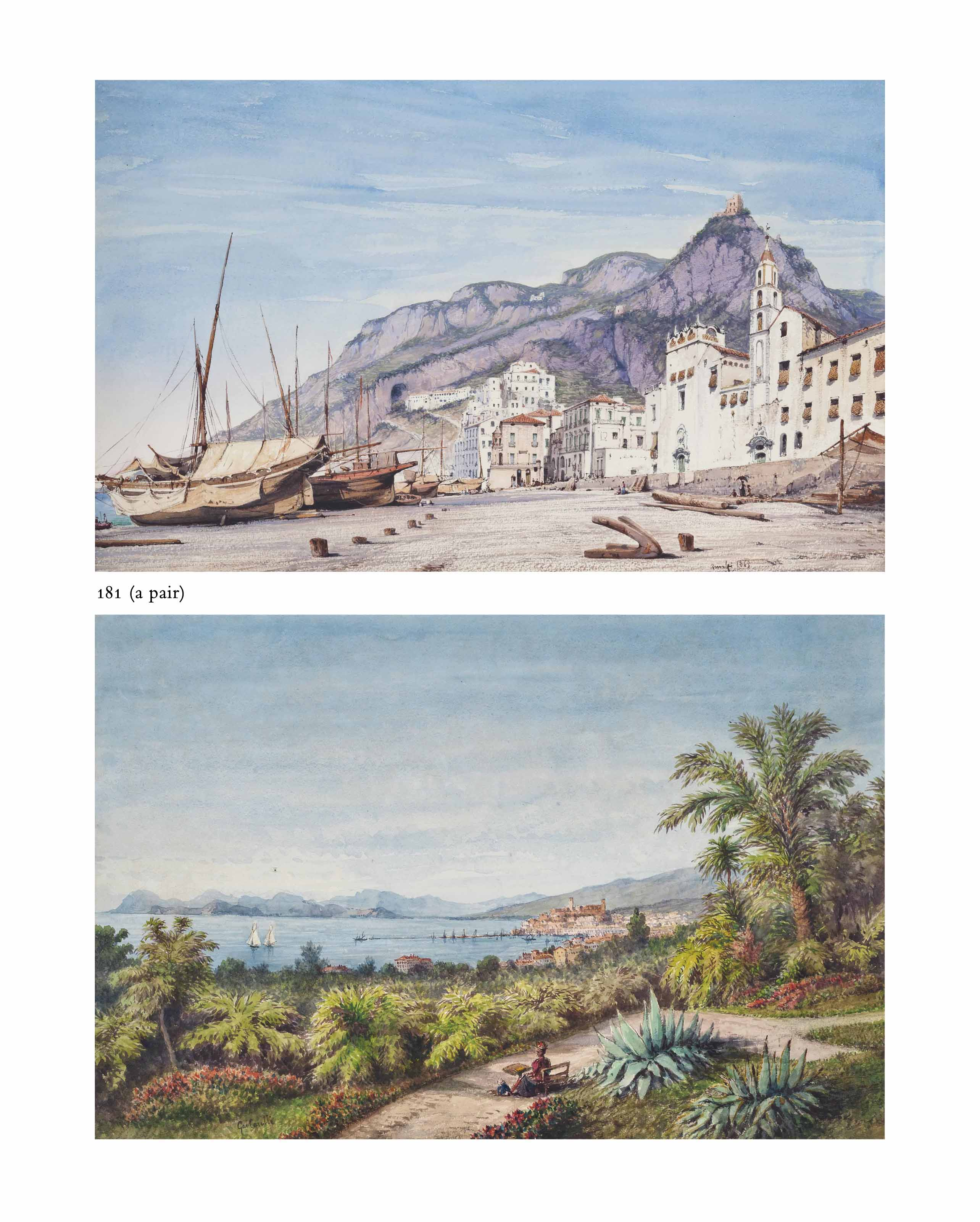 Vessels on the shore, Amalfi; and A lady painting in a coastal garden