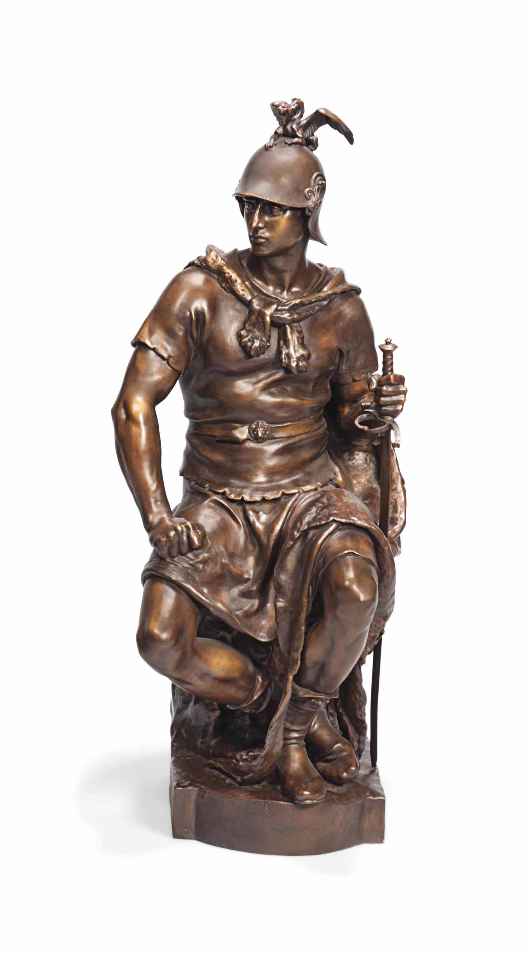 A FRENCH BRONZE MODEL OF 'LE COURAGE MILITAIRE'