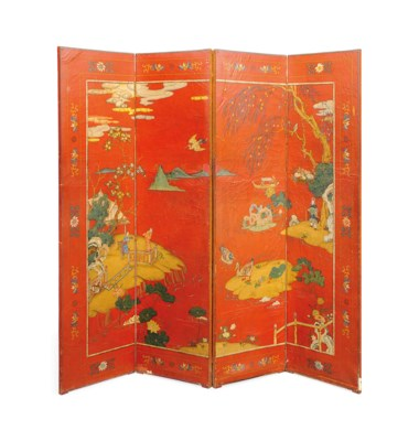 A CHINESE RED PAINTED FOUR FOL