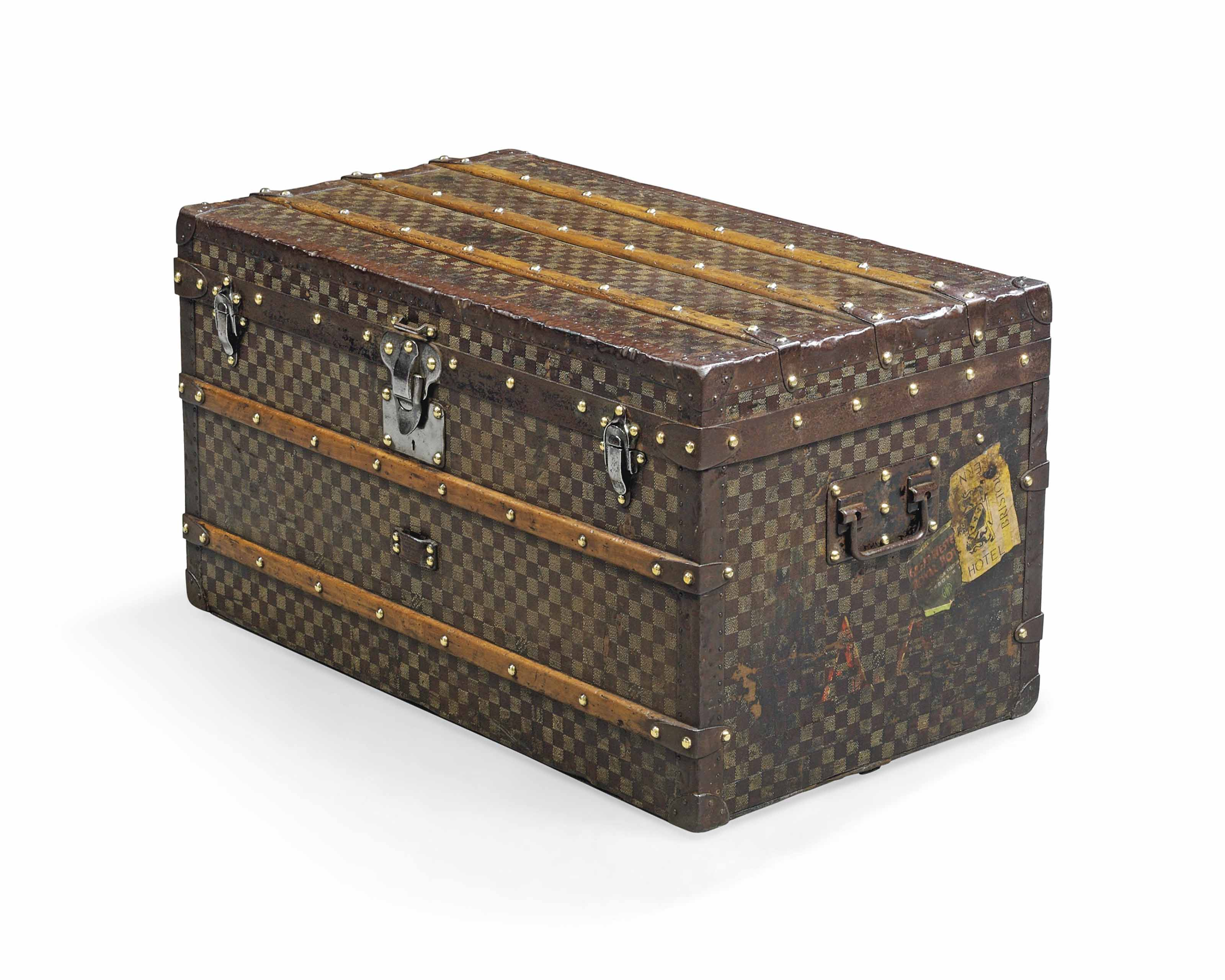 A MAIL TRUNK IN DAMIER CANVAS