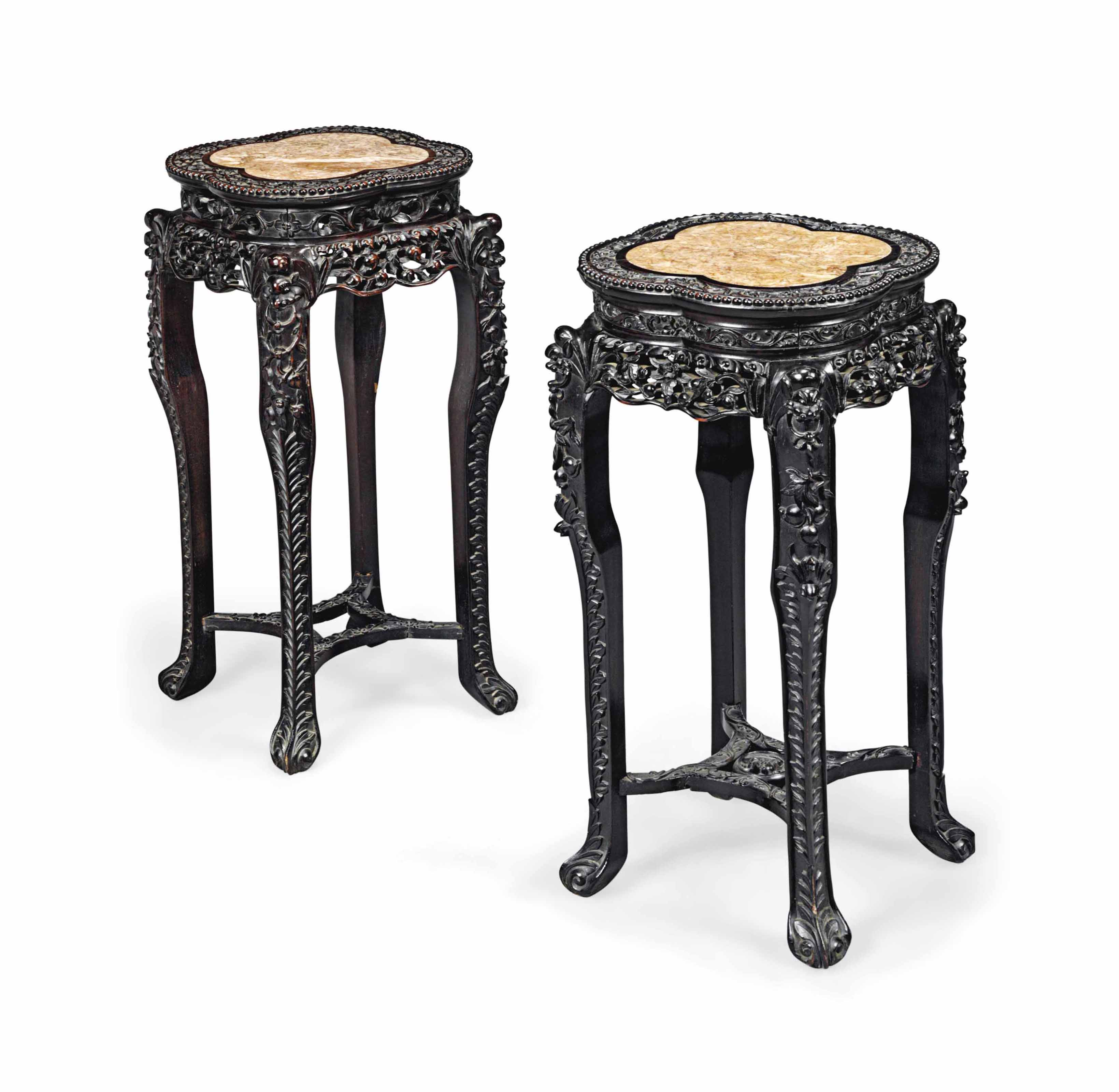 A MATCHED PAIR OF CHINESE EBON
