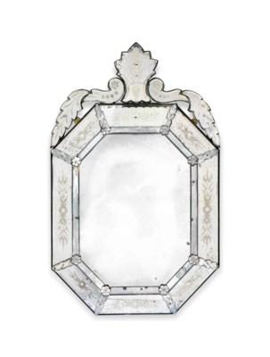 A VENETIAN CUT GLASS OCTAGONAL