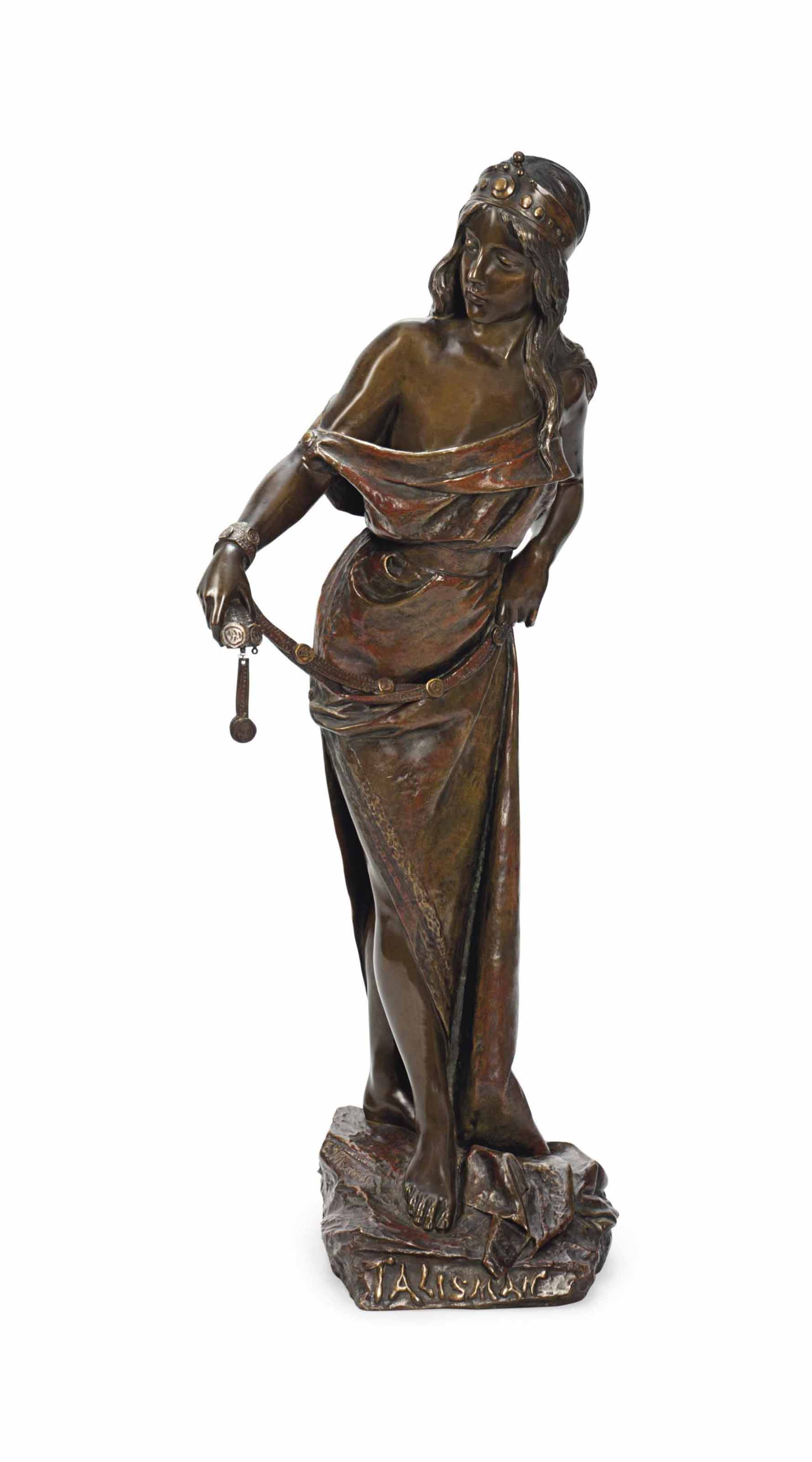 A FRENCH BRONZE FIGURE ENTITLED 'TALISMAN'