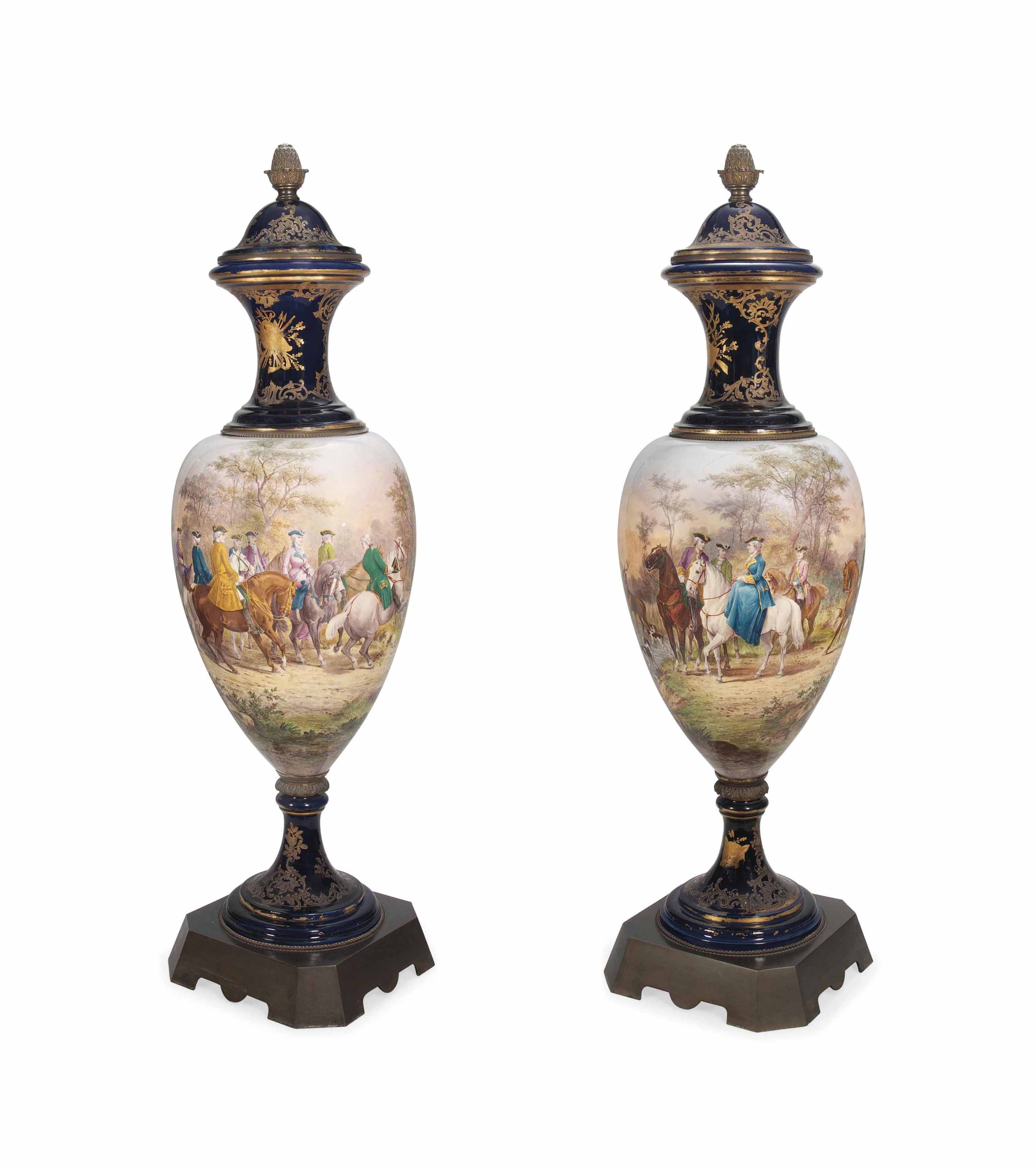 A LARGE PAIR OF SEVRES-STYLE M