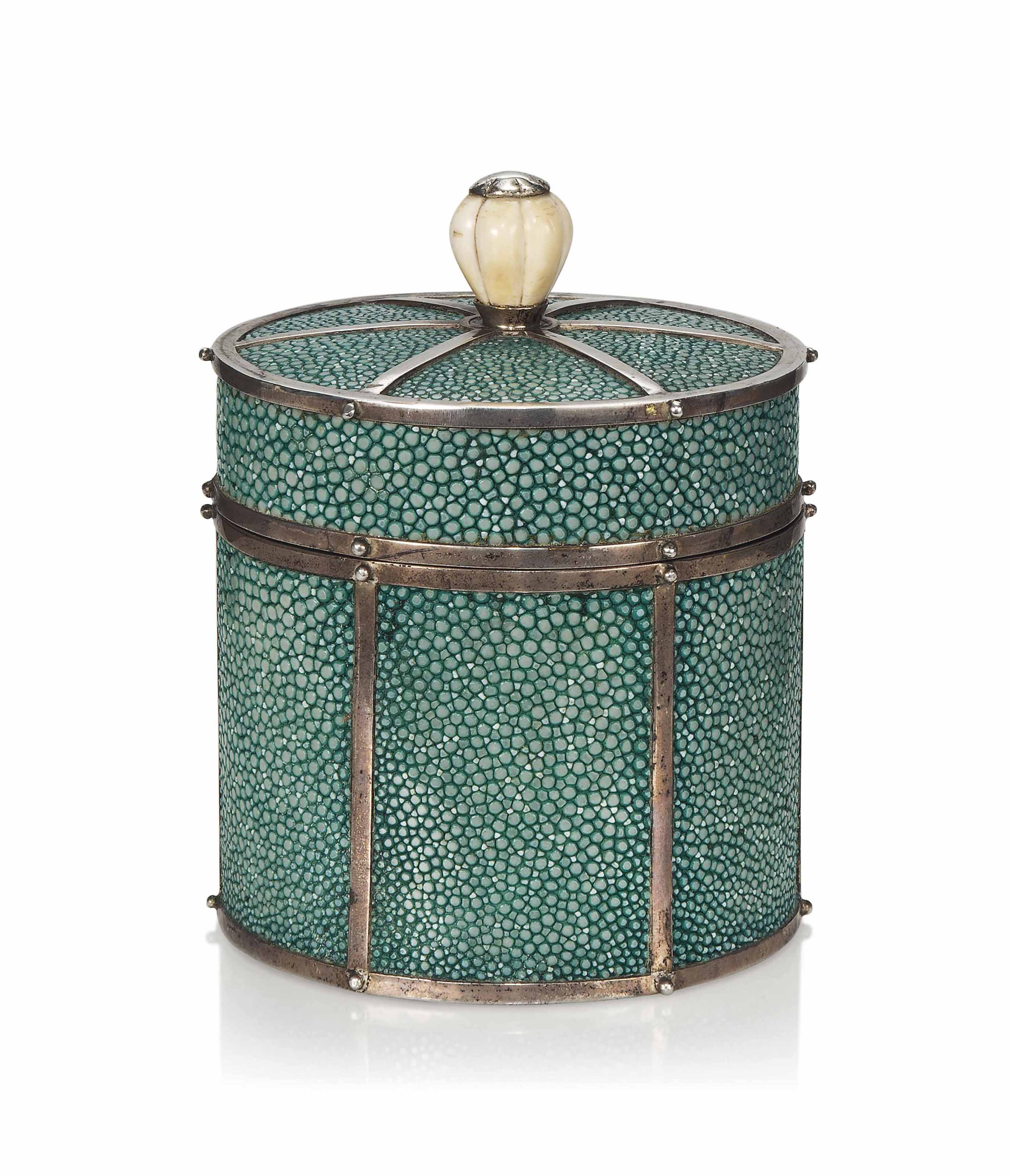A SHAGREEN, SILVERED METAL AND